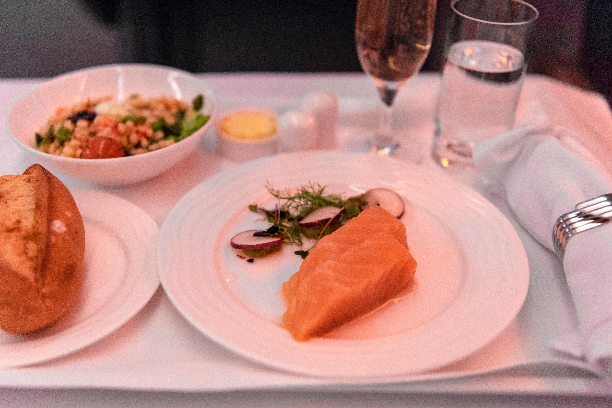 Smoked Salmon   Emirates EK352 Business Class 777-300ER - DXB to SIN