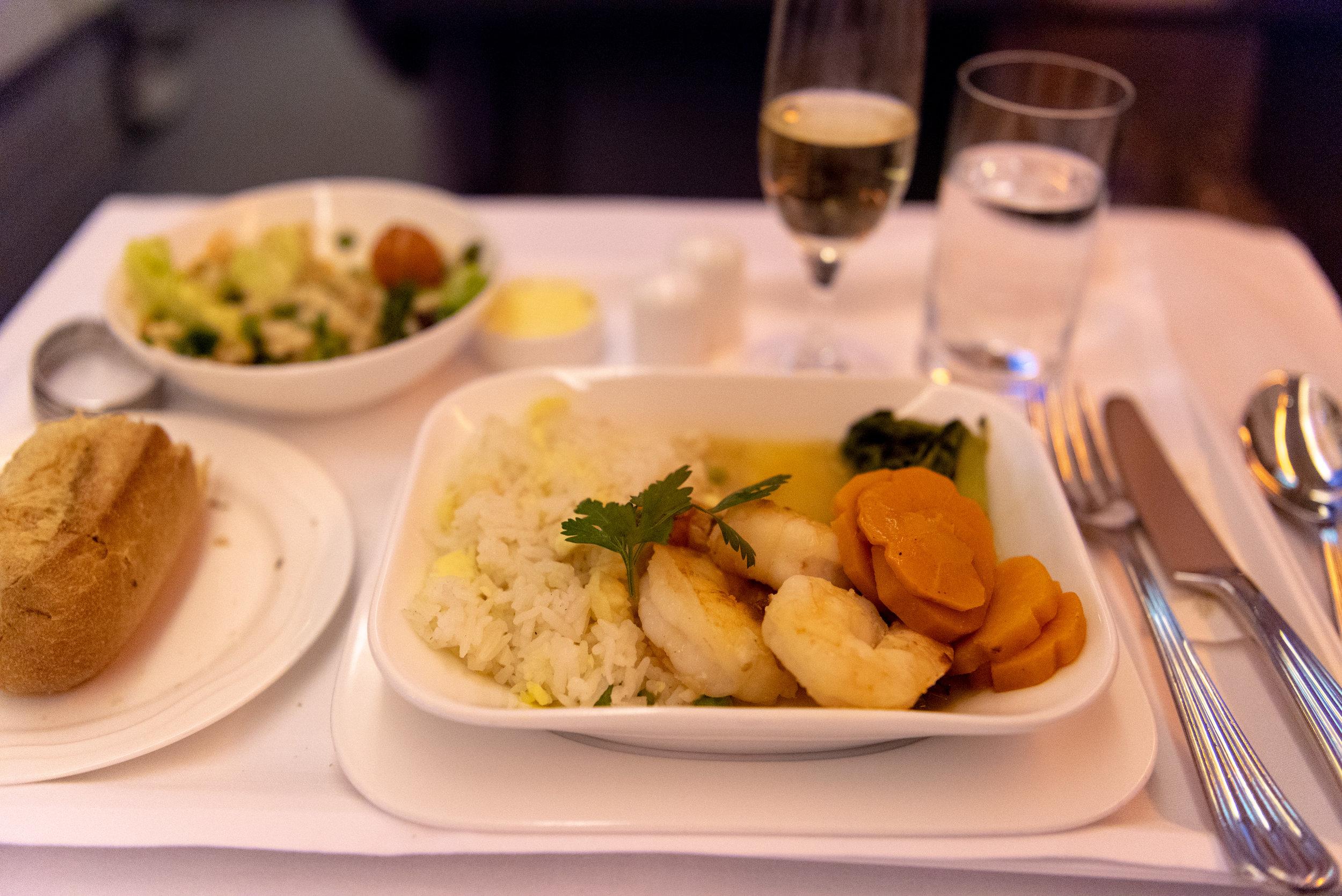 Grilled King Prawns  Emirates EK352 Business Class 777-300ER - DXB to SIN