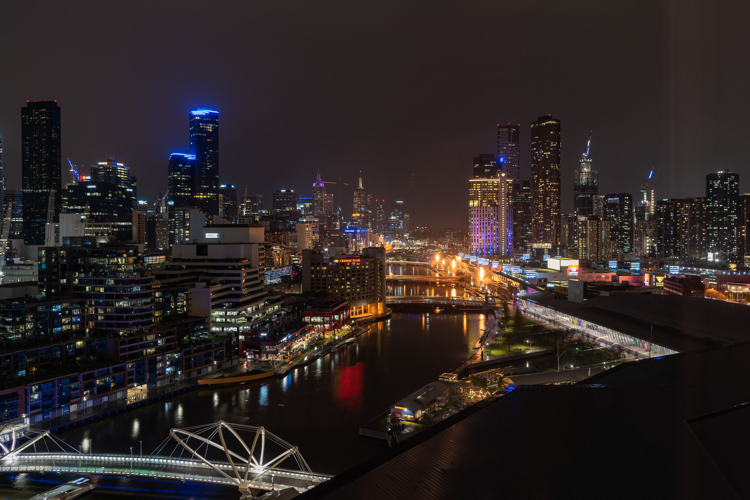 Night View from Bedroom  Pacific Club King Room - Pan Pacific Melbourne