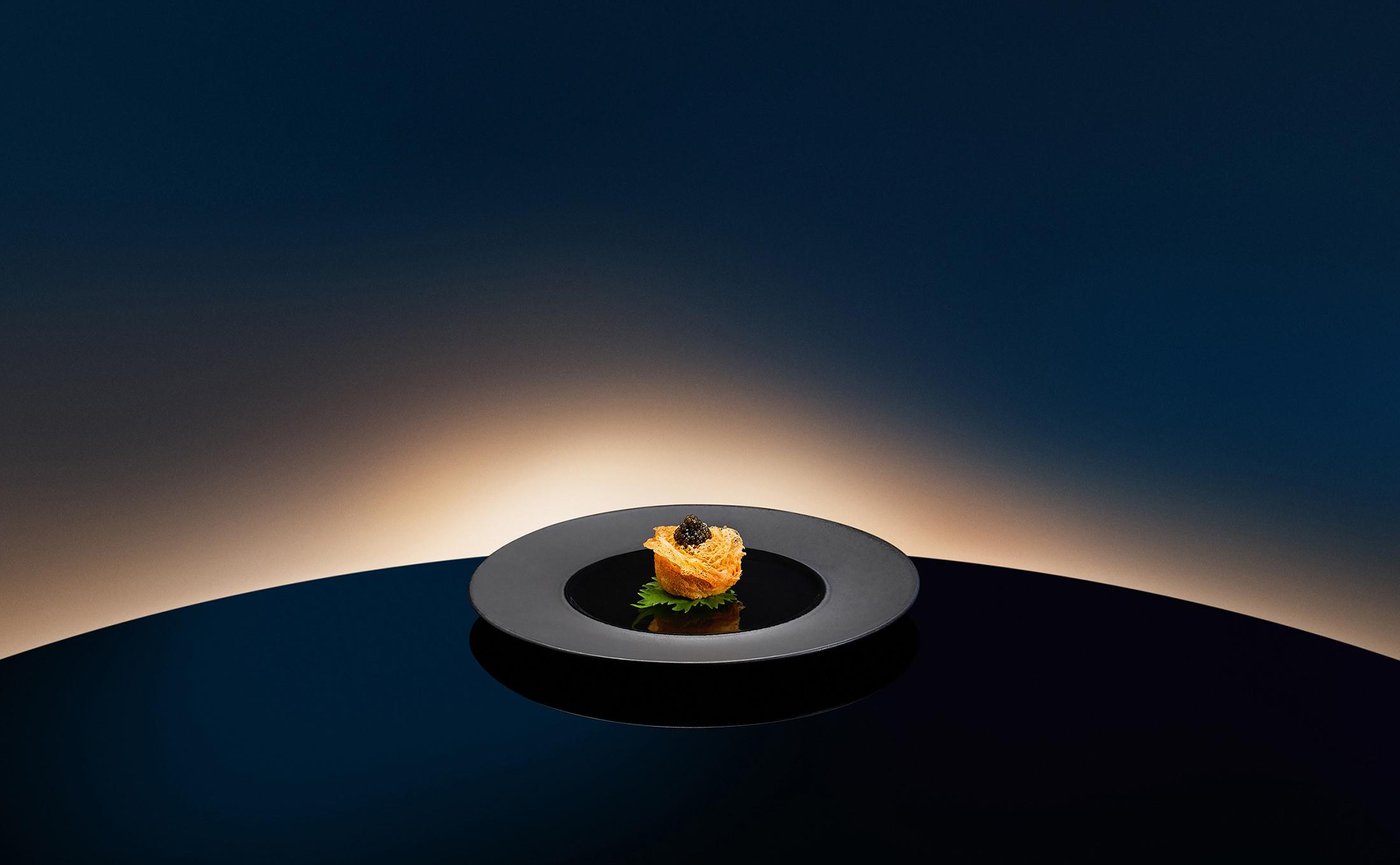 Deep Fried Taro, Scallop, Chicken, Black Caviar by Chef Cheung Siu Kong.jpg