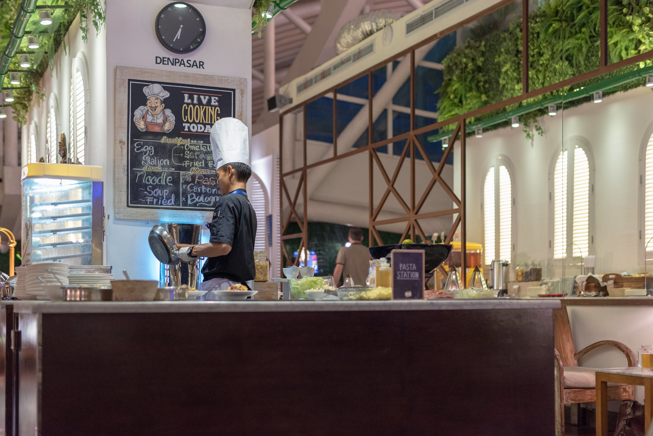 'Live' Pasta Station in the Evenings  T/G Lounge - Ngurah Rai International Airport (DPS)