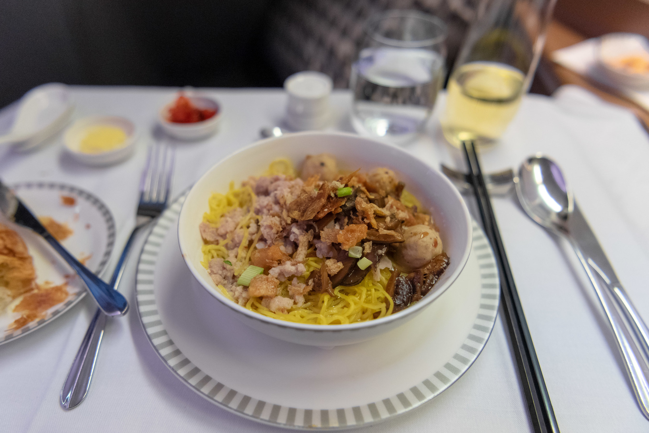 Bak Chor Mee Soup - Book the Cook  Singapore Airlines Business Class SQ828 777-300ER - SIN to PVG
