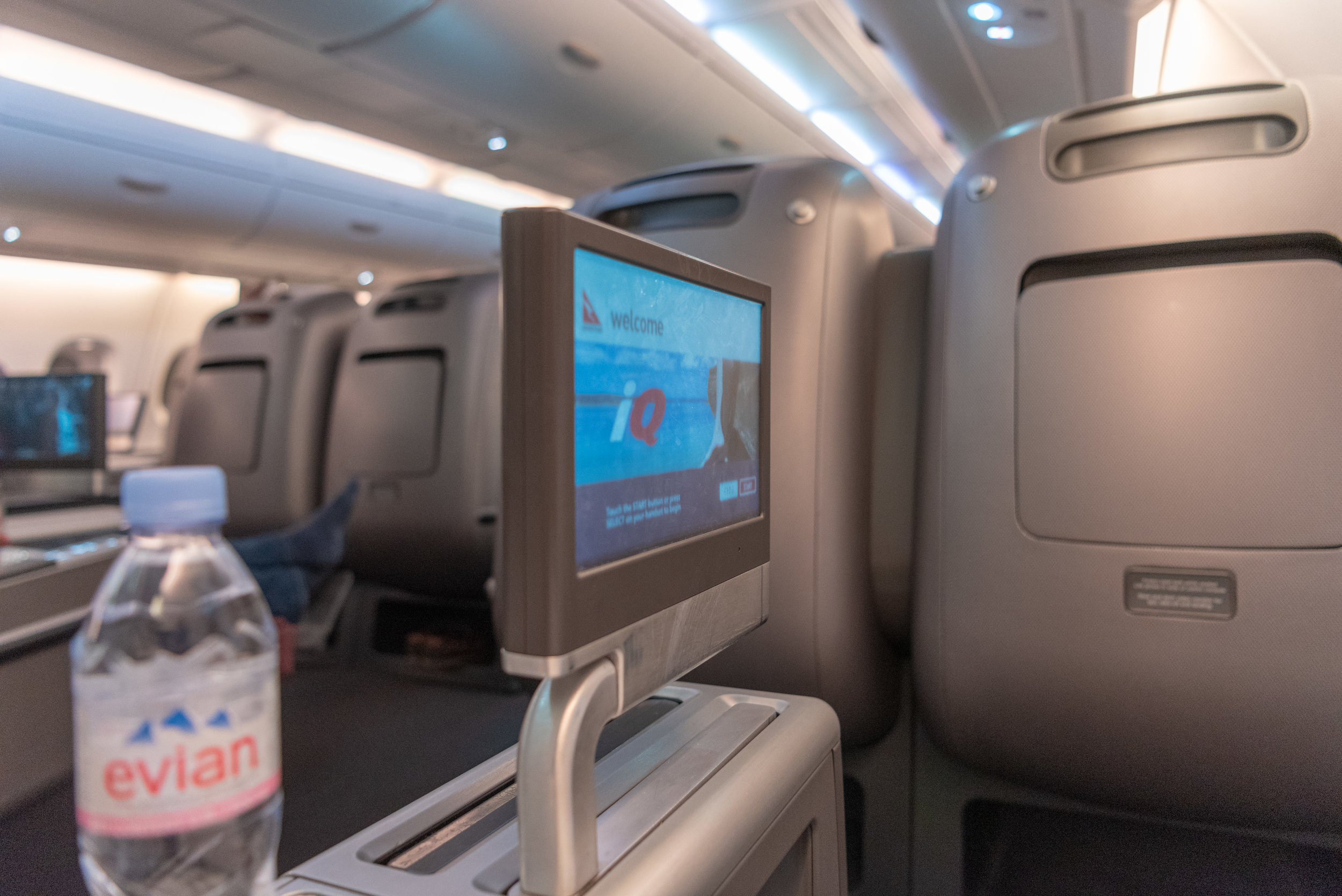 In-flight Entertainment Screen  Qantas Business Class QF36 A380-800 - SIN to MEL