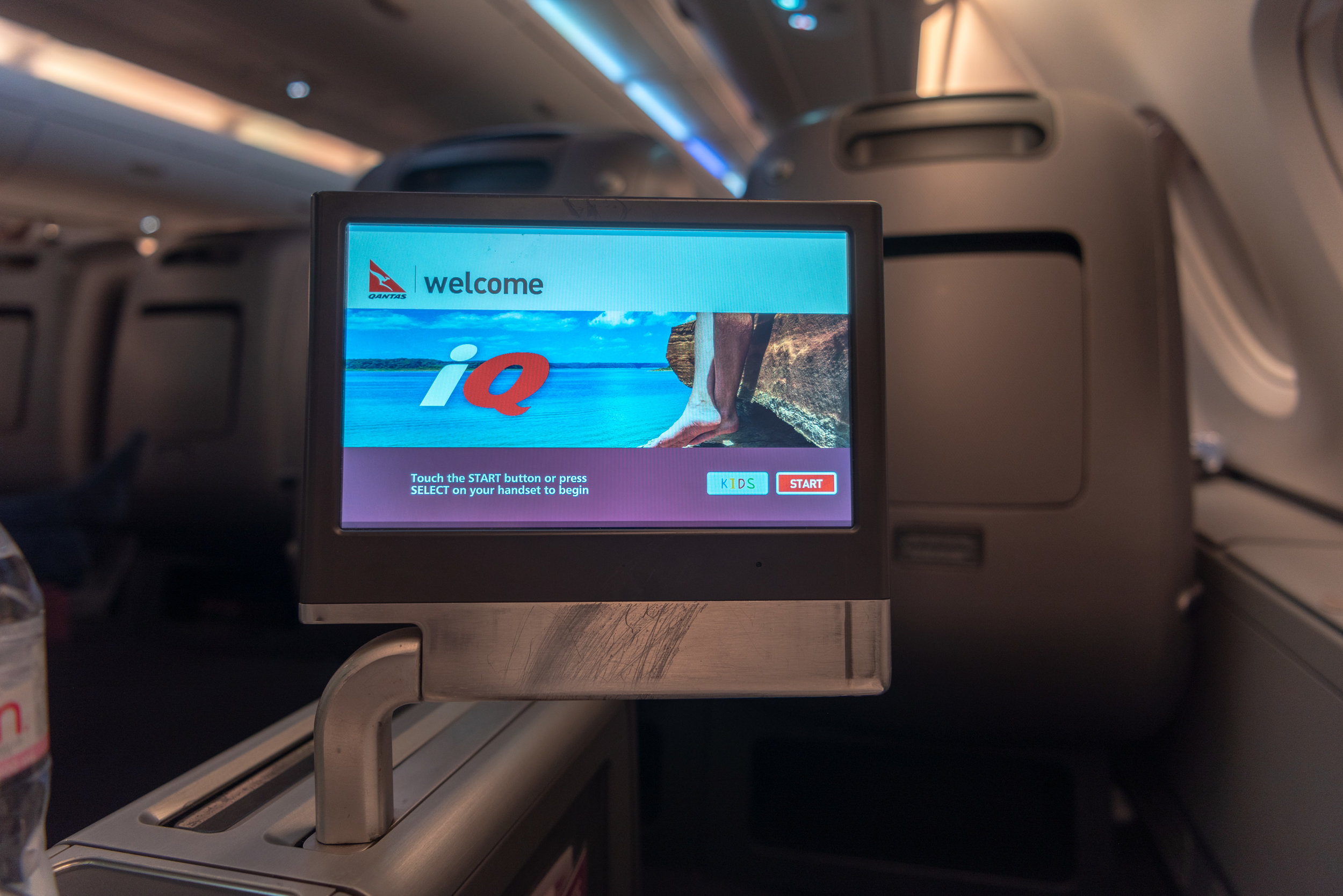 In-flight Entertainment System  Qantas Business Class QF36 A380-800 - SIN to MEL