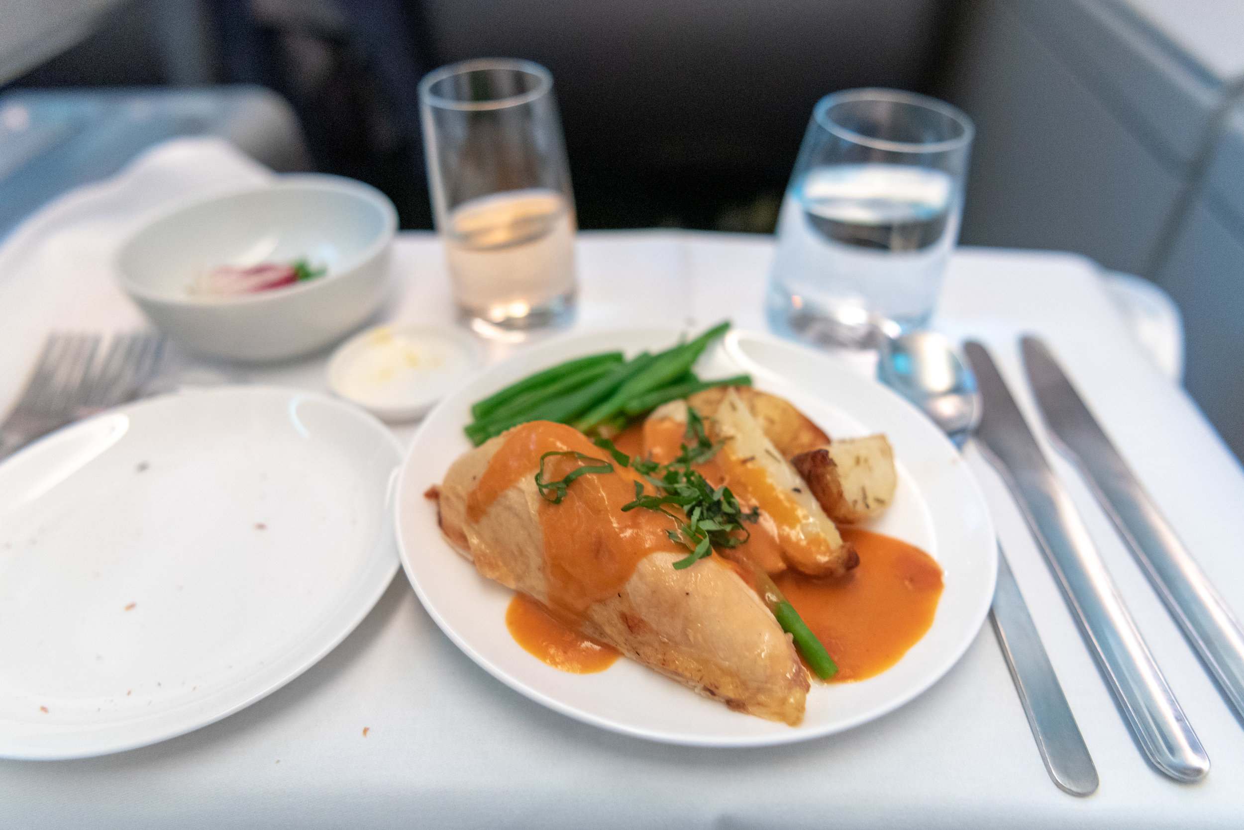 Roast Chicken with Potatoes, Green Beans and Chipotle Lentil Sauce  Qantas Business Class QF36 A380-800 - SIN to MEL