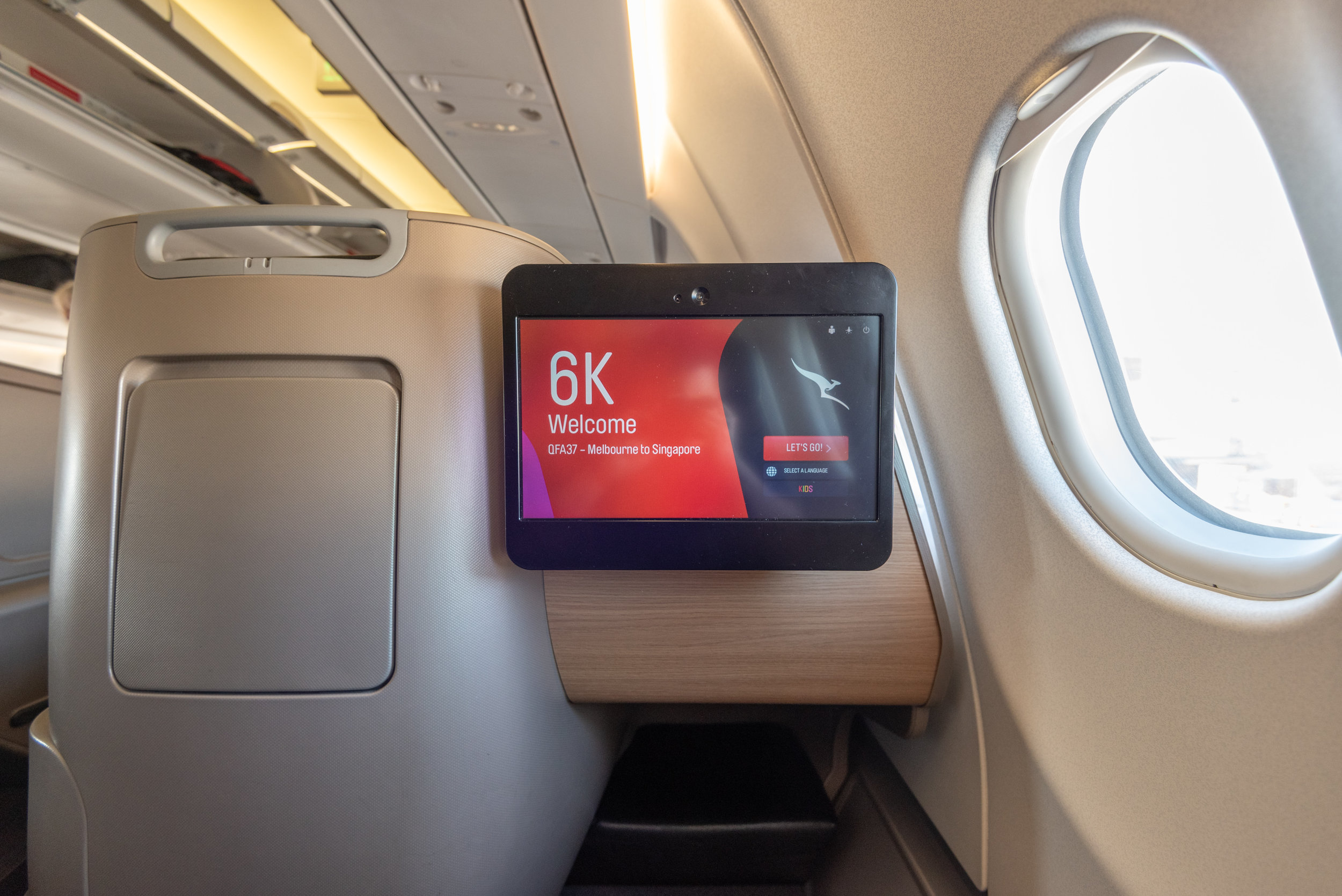 In-flight Entertainment System  Qantas Business Class QF37 A330-300 - MEL to SIN