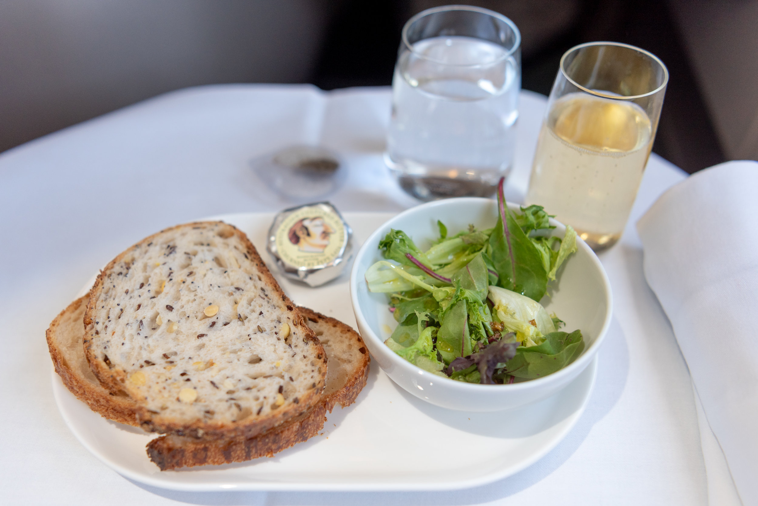 Bread and Side Salad  Qantas Business Class QF37 A330-300 - MEL to SIN