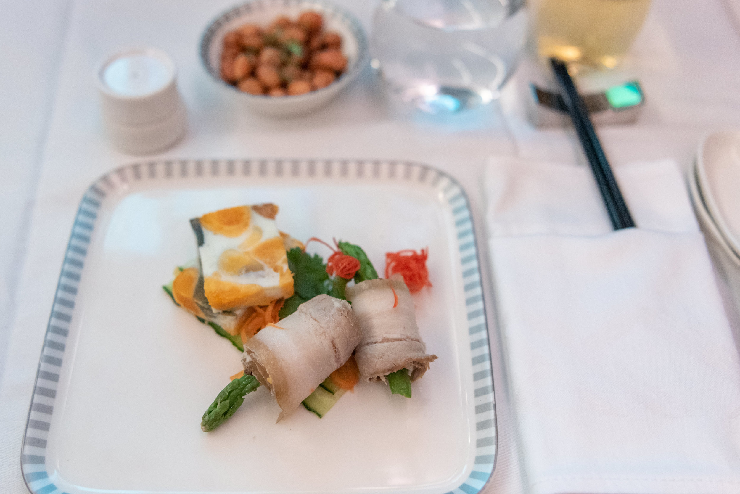 Chili Pork and Asparagus Roll  Singapore Airlines Business Class SQ833 A380-800 - PVG to SIN