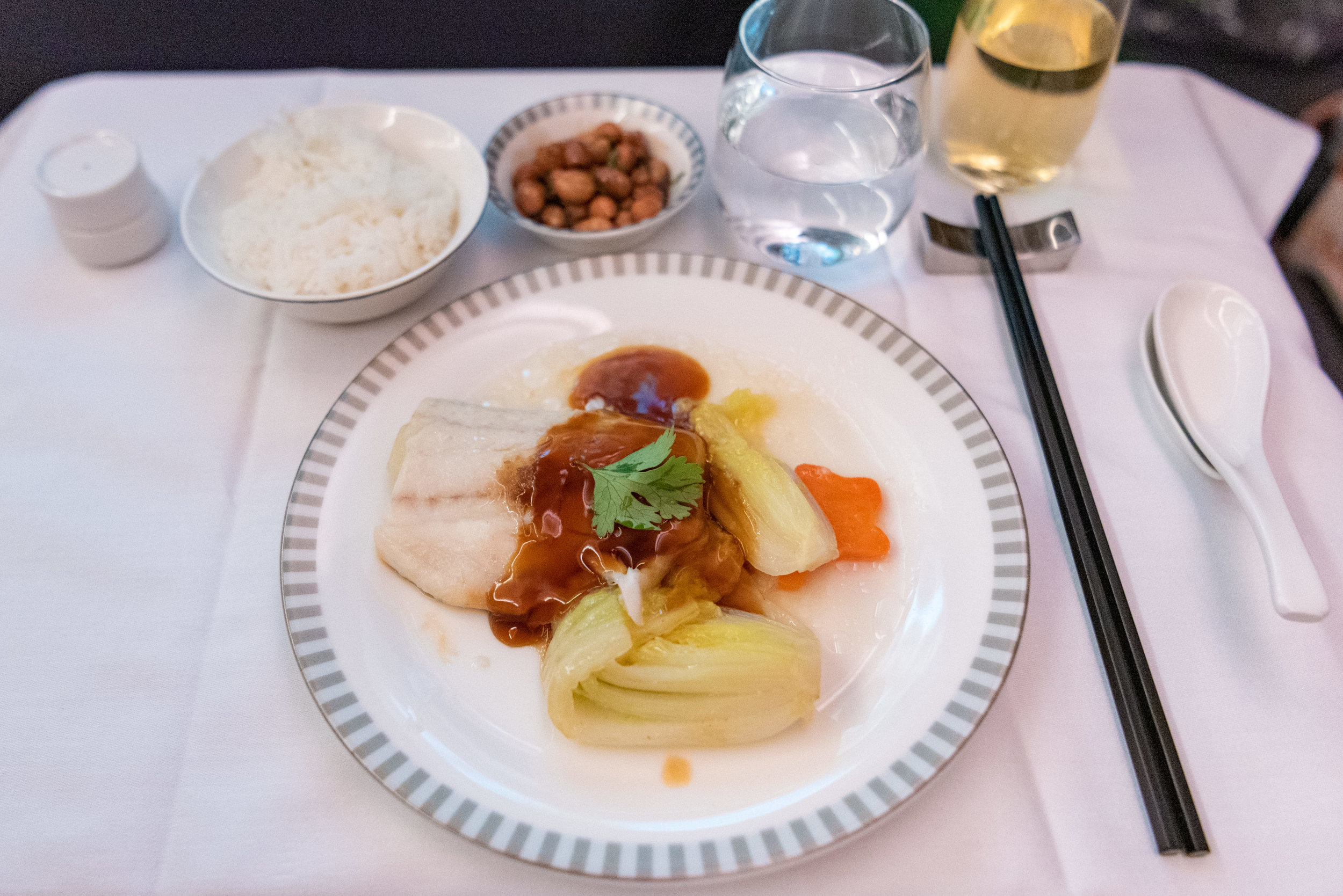 Steamed Seabass with Roasted Garlic  Singapore Airlines Business Class SQ833 A380-800 - PVG to SIN