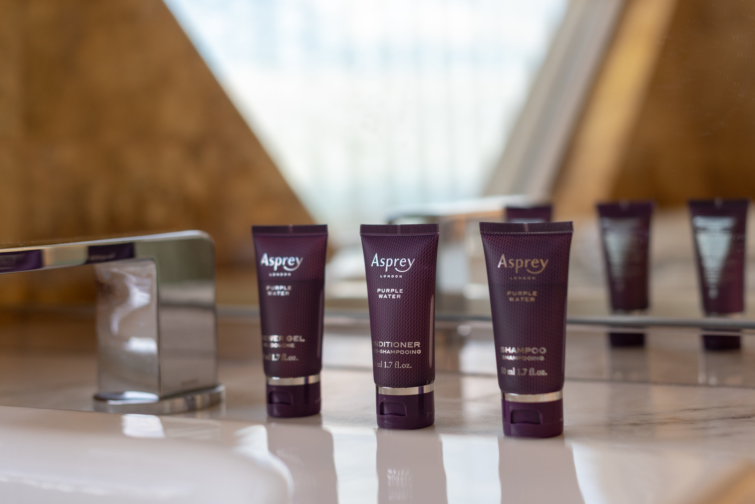 Asprey Purple Water Bath Amenities  Club Deluxe Marina Room - The Ritz-Carlton, Millenia Singapore