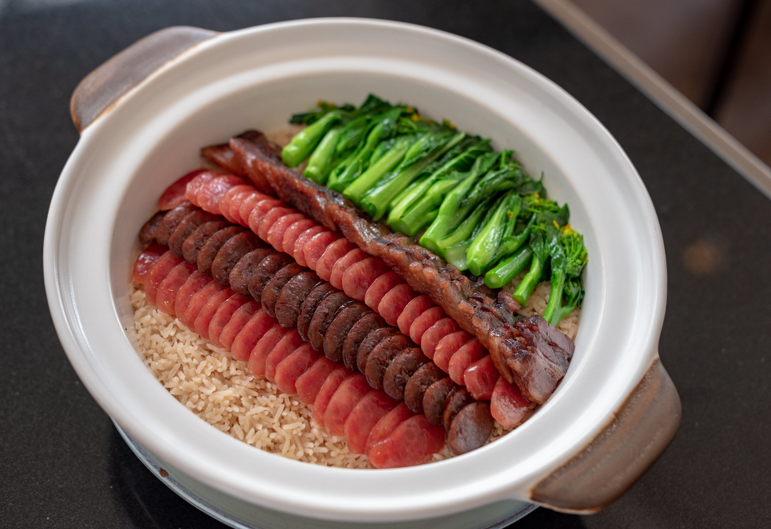 Steamed Fragrant Rice with Chef Selection of Waxed Meat and Choy Sum  Racines - Sofitel Singapore City Centre