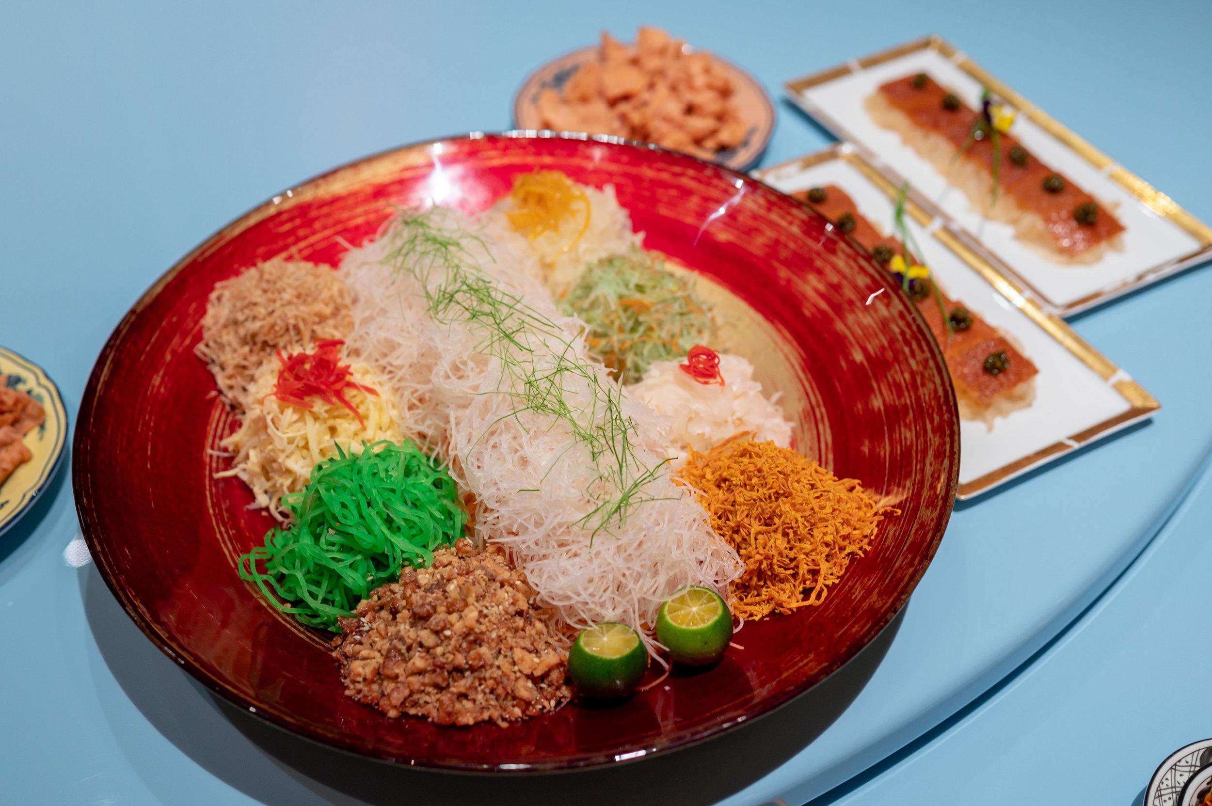 Suckling Pig, Black Caviar, Jelly Fish Yu Sheng  Summer Pavilion - The Ritz-Carlton, Millenia Singapore