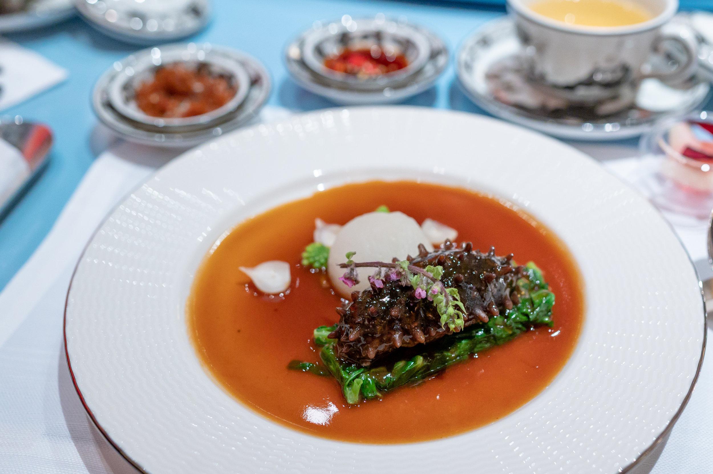 Braised Stuffed Prickly Sea Cucumber, Iberico Pork, Preserved Vegetable, Winter Melon, Mushroom, Seasonal Vegetable  Summer Pavilion - The Ritz-Carlton, Millenia Singapore
