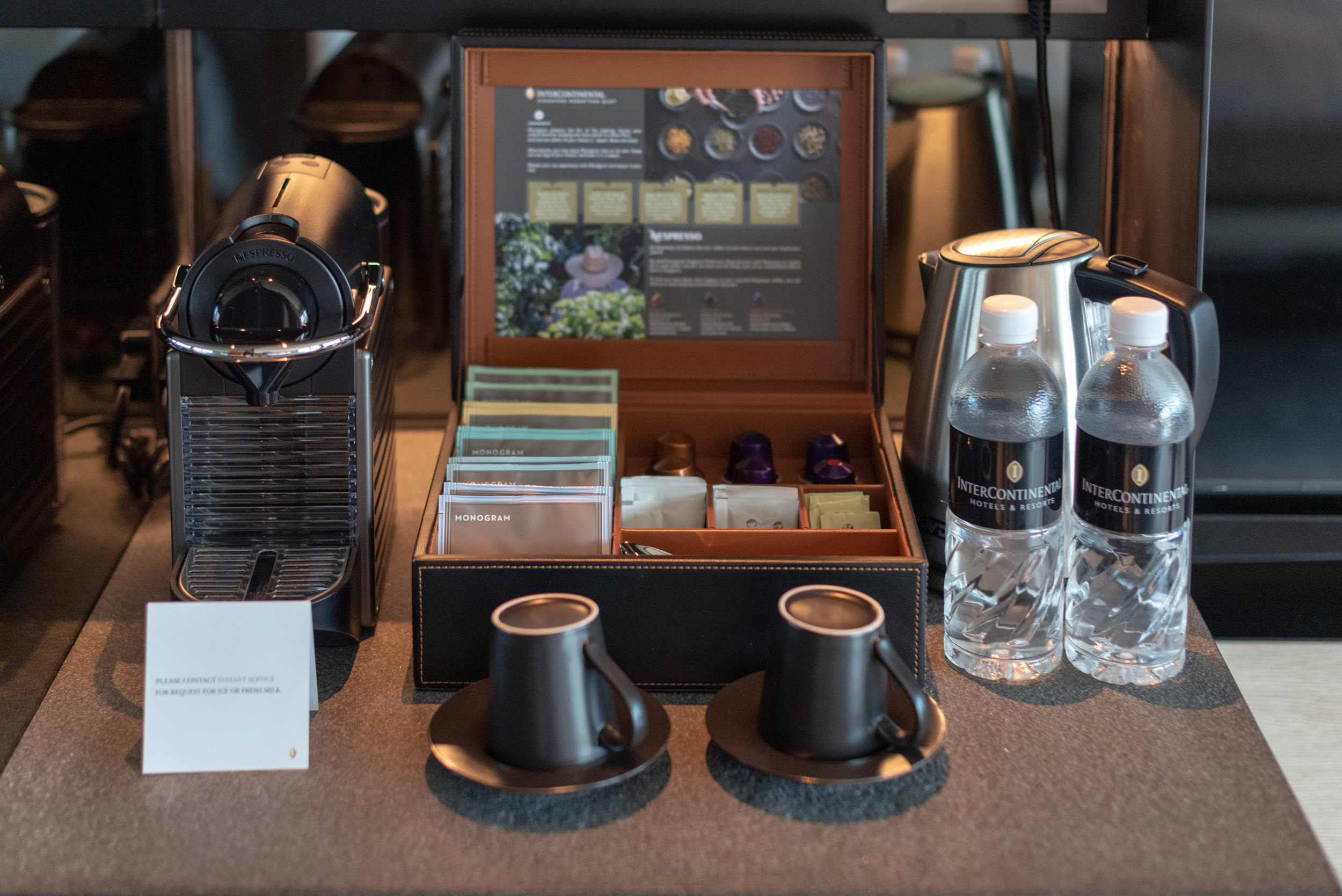 Nespresso Coffee Machine and Monogram Tea  Quayside Corner Suite - InterContinental Singapore Robertson Quay