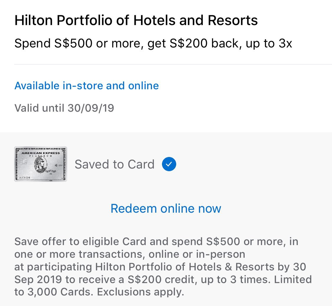 Spend S 500 Get S 200 Back At Hilton Hotels With American Express Platinum Card The Shutterwhale
