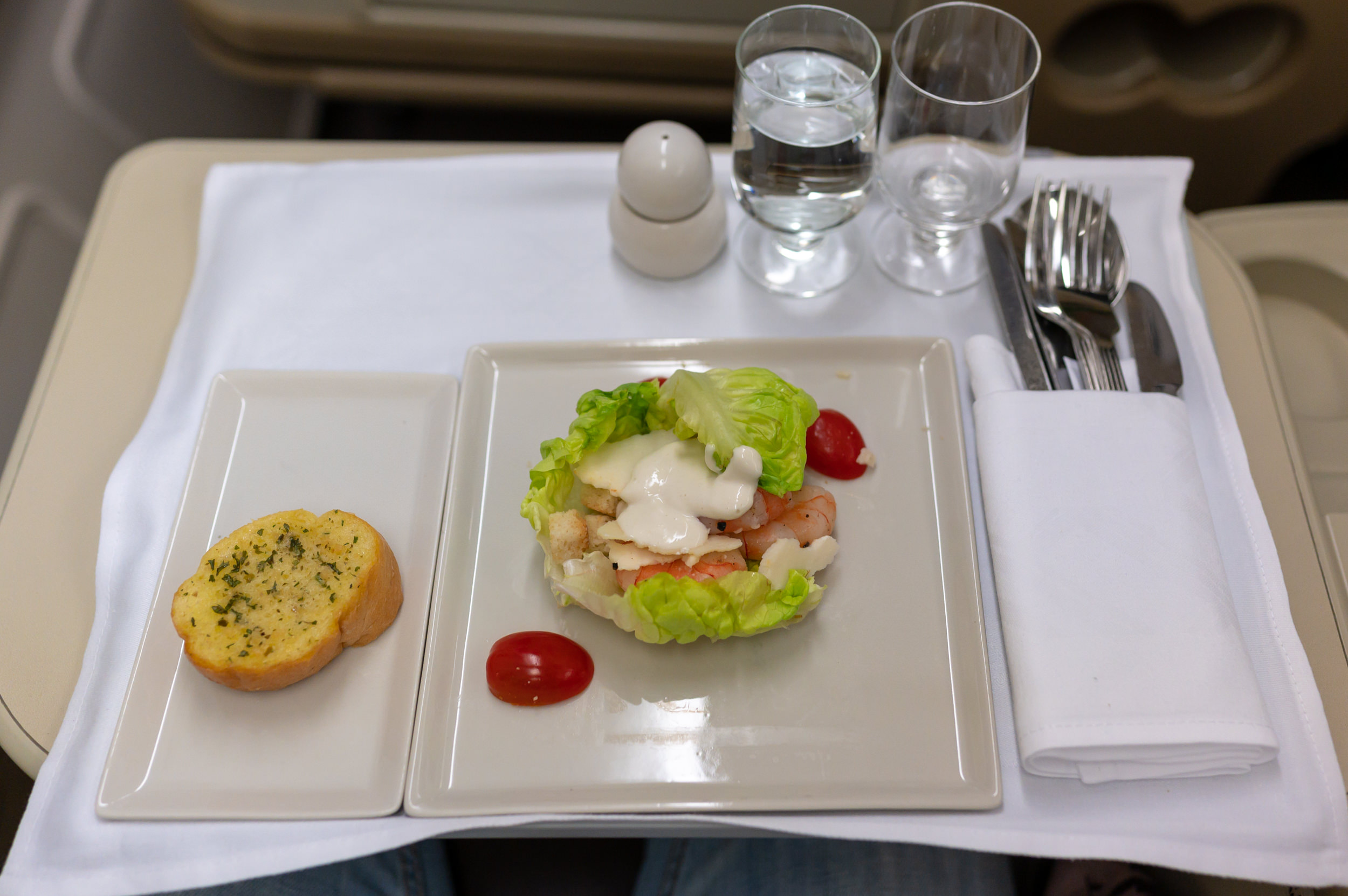 Prawn Caesar Salad  Singapore Airlines Business Class A330-300 SQ187 - HAN to SIN