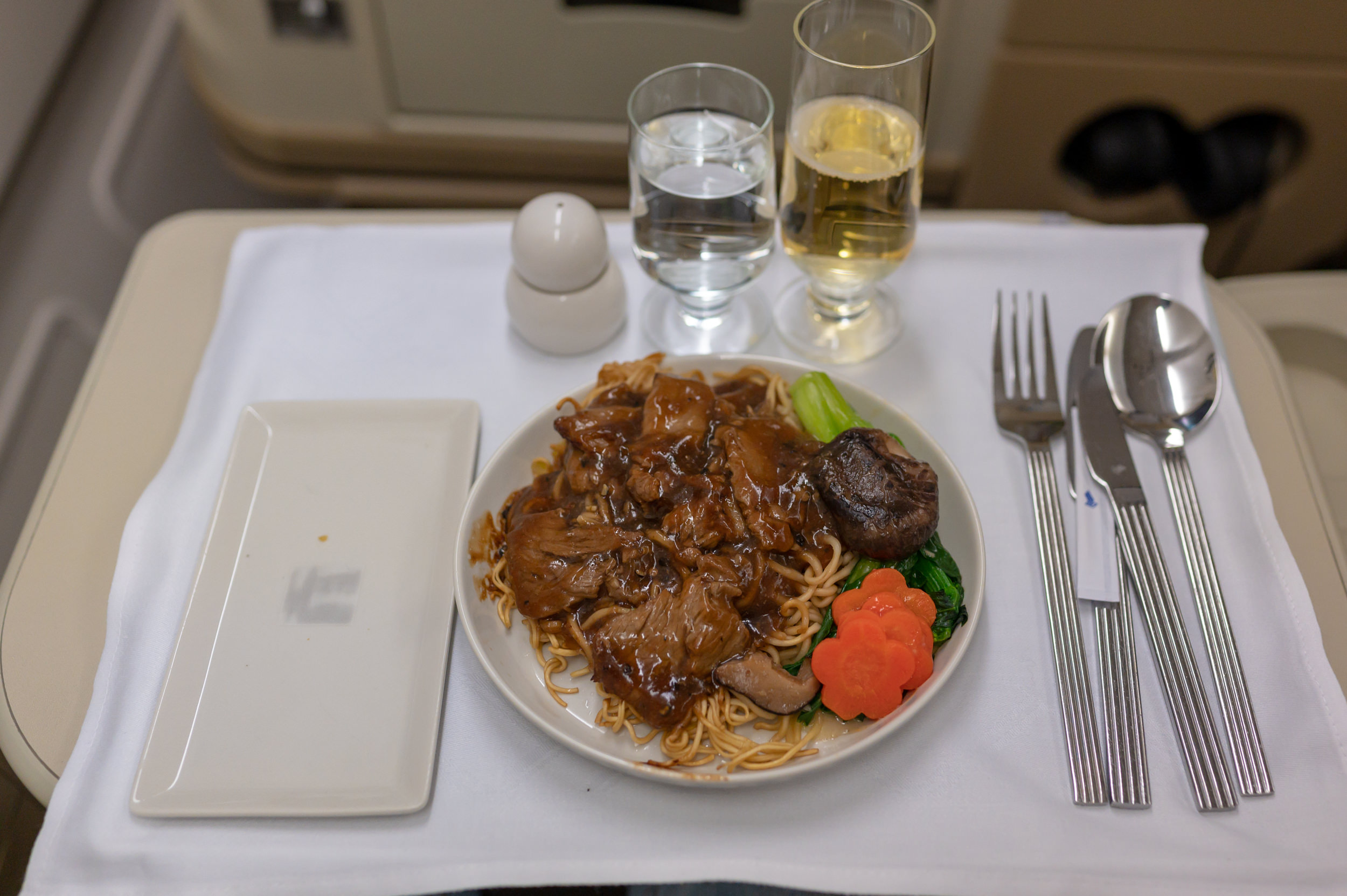 Wok Fried Sliced Beef in Black Peppercorn Sauce  Singapore Airlines Business Class A330-300 SQ187 - HAN to SIN