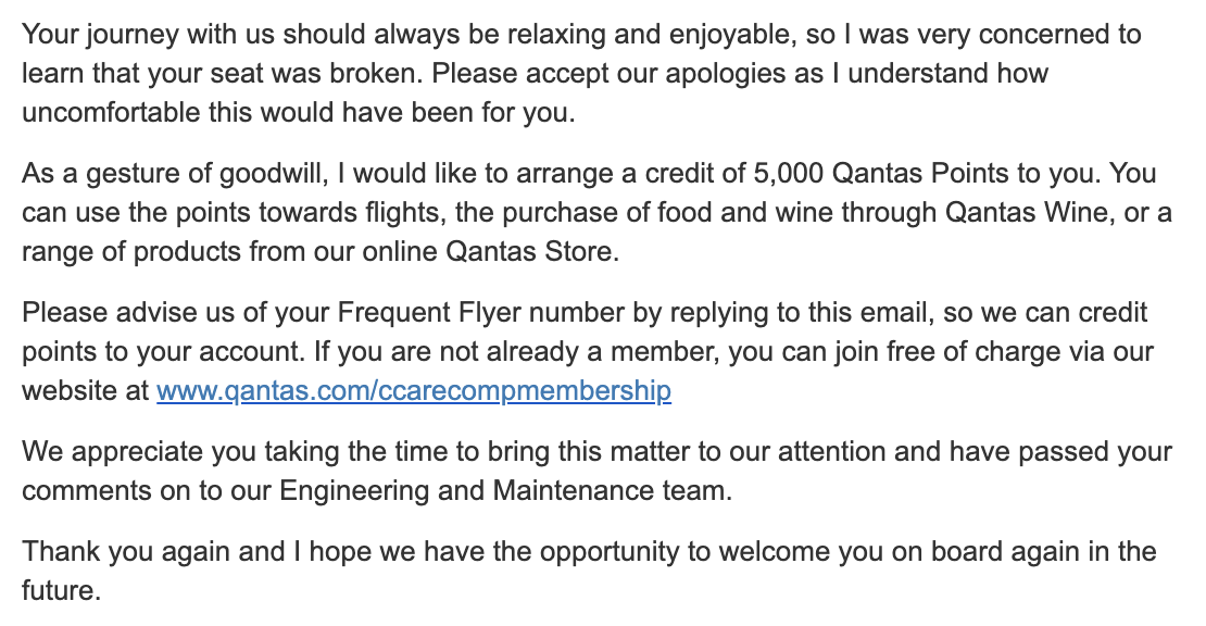Email from Qantas Customer Care