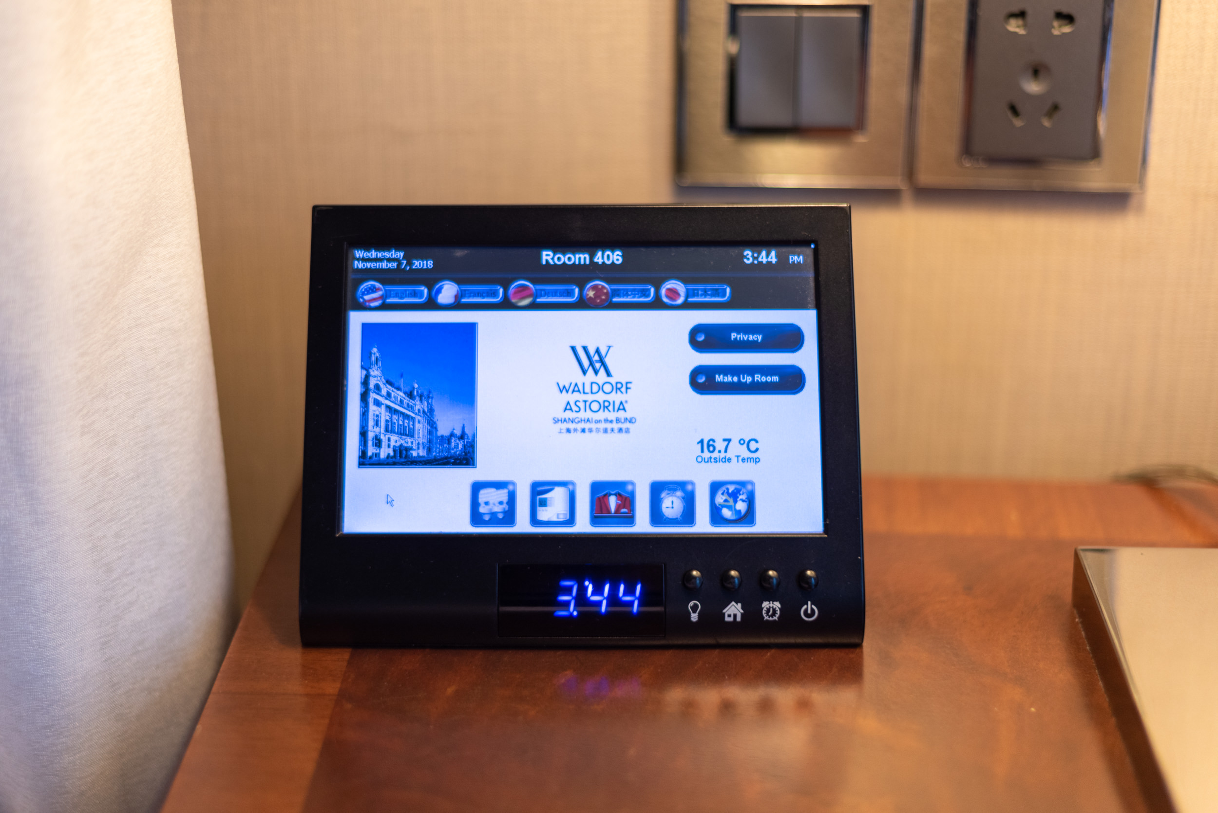 Tablet for Controls  Heritage Luxury River View Suite - Waldorf Astoria Shanghai on the Bund