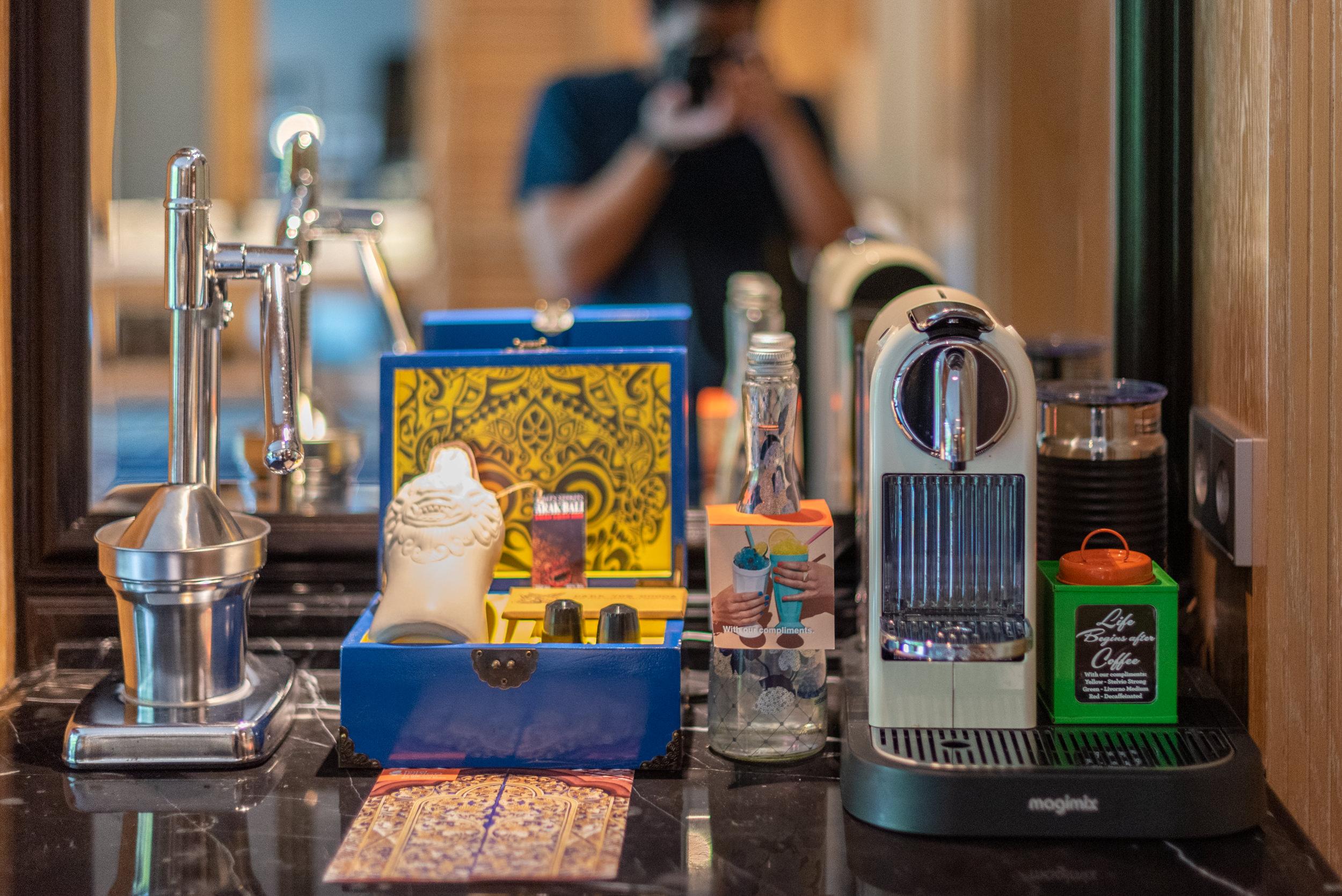 Coffee Machine and Manual Juicer  Perada Suite - Hotel Indigo Bali Seminyak Beach