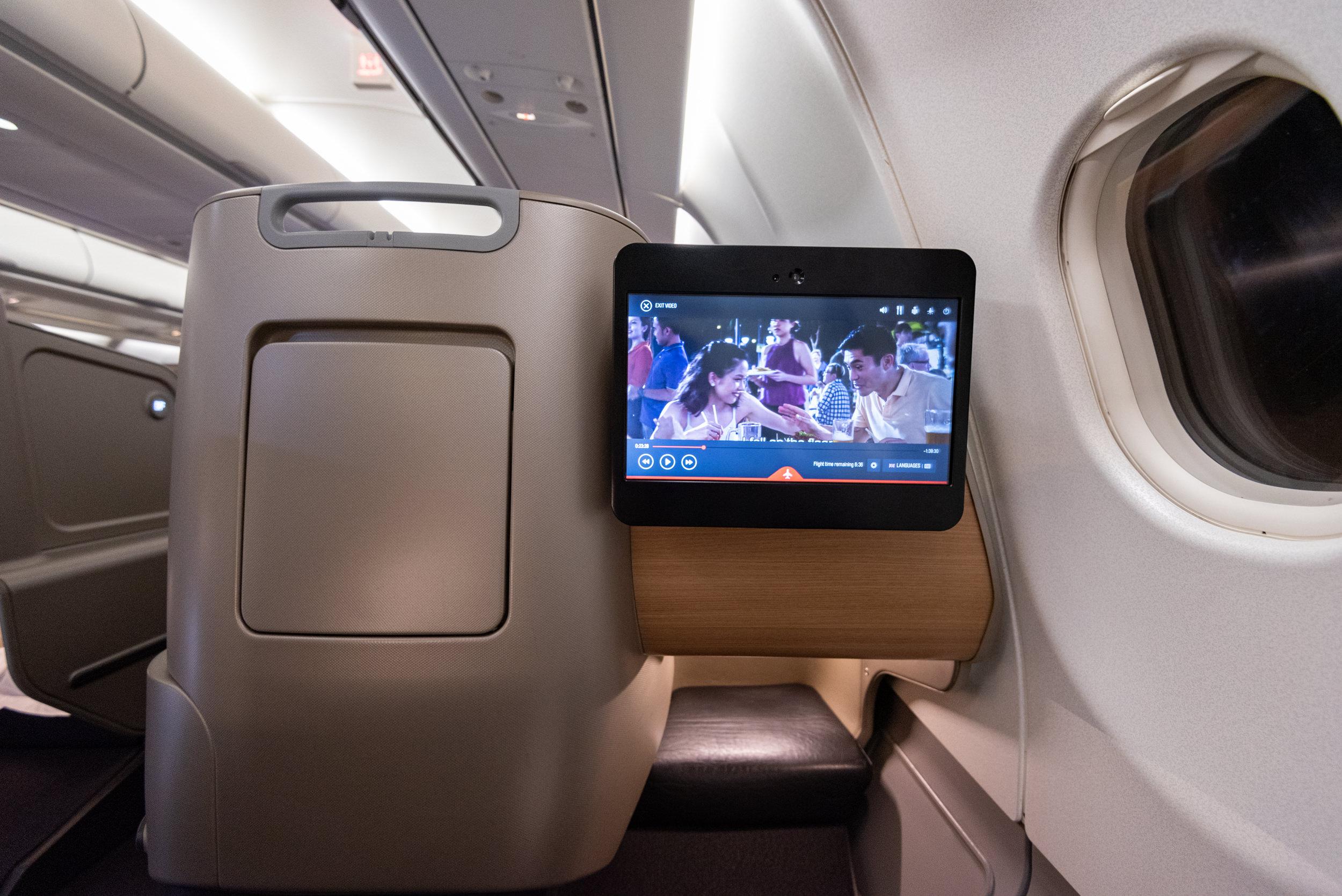 In-flight Entertainment Screen  Qantas Business Class QF52 A330-300 - SIN to BNE