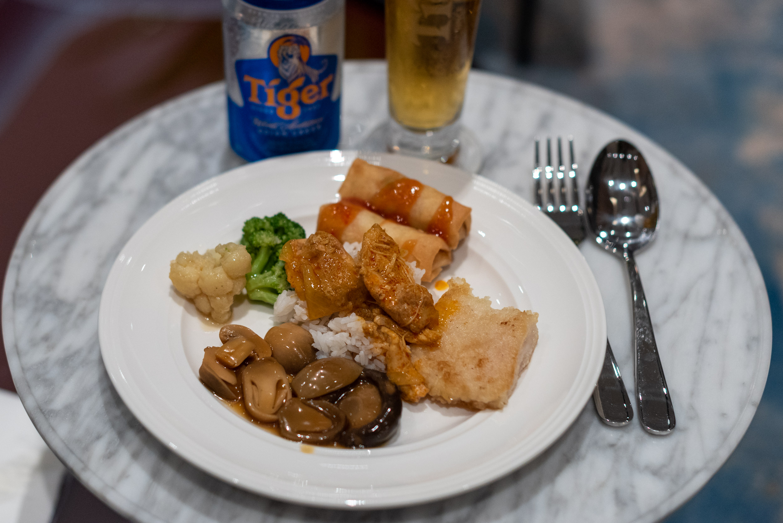 Food from the Buffet  Changi Lounge - Jewel Changi Airport