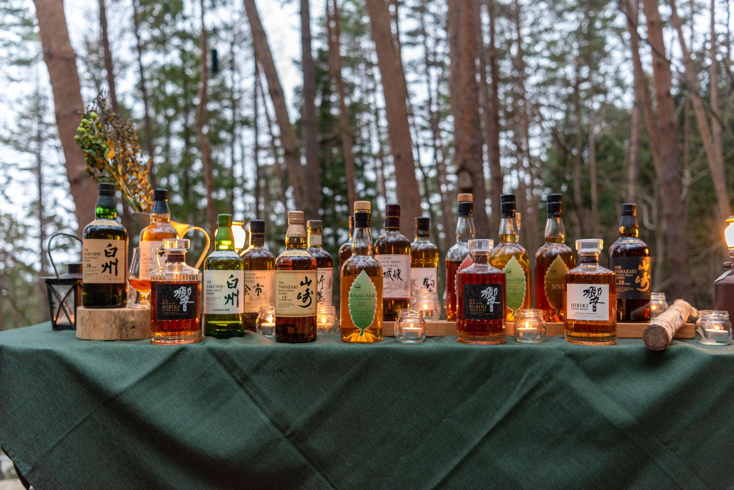 Selection of Japanese Whiskies  Cloud Terrace - HOSHINOYA Fuji