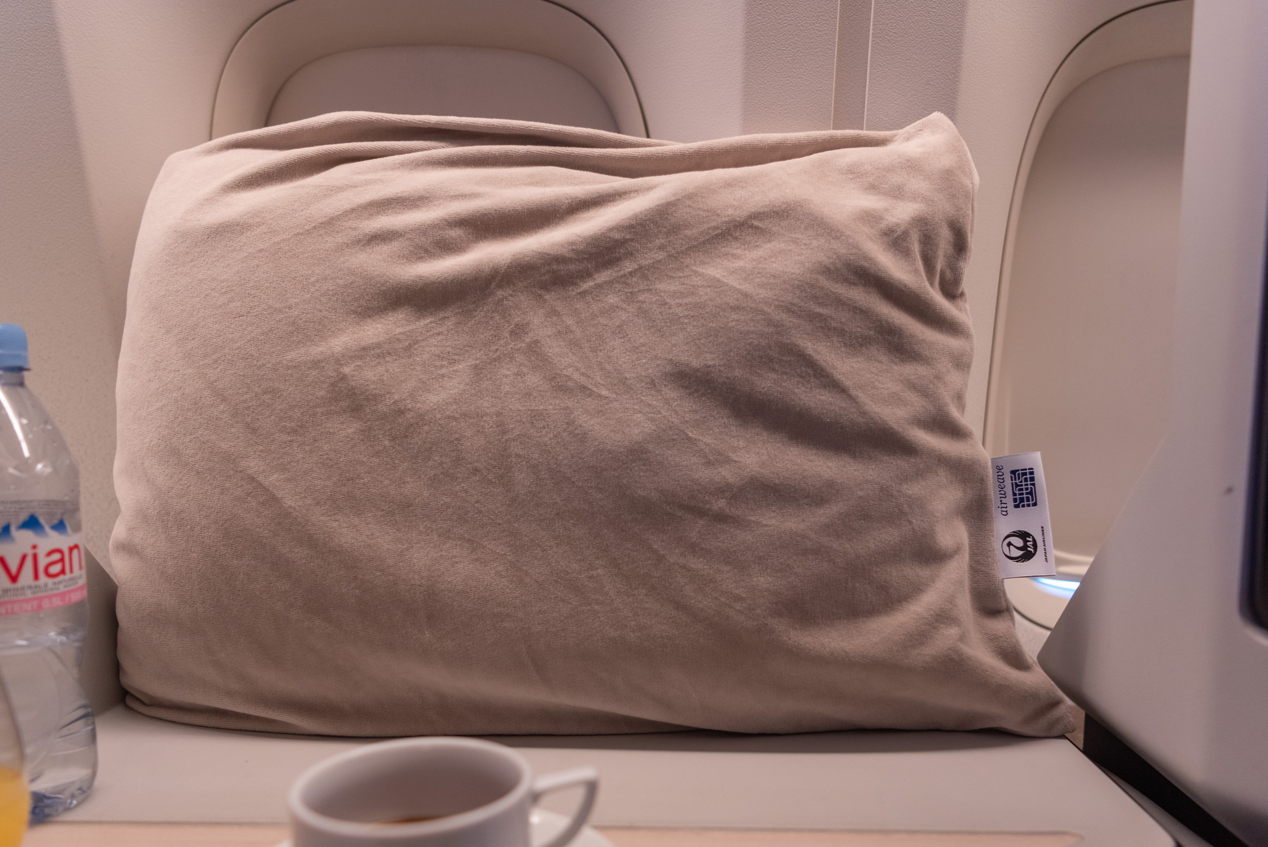 New Business Class Pillows  Japan Airlines Business Class JL38 777-200ER - SIN to HND