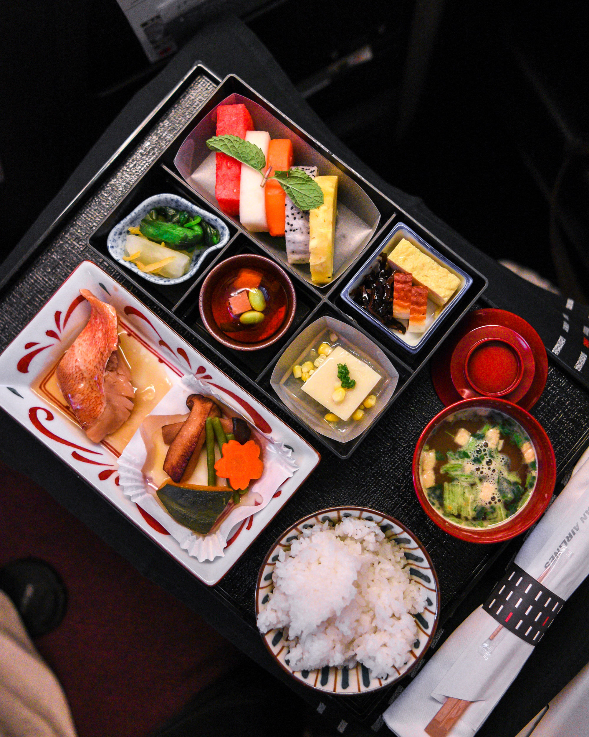 Japanese Breakfast  Japan Airlines Business Class JL38 777-200ER - SIN to HND
