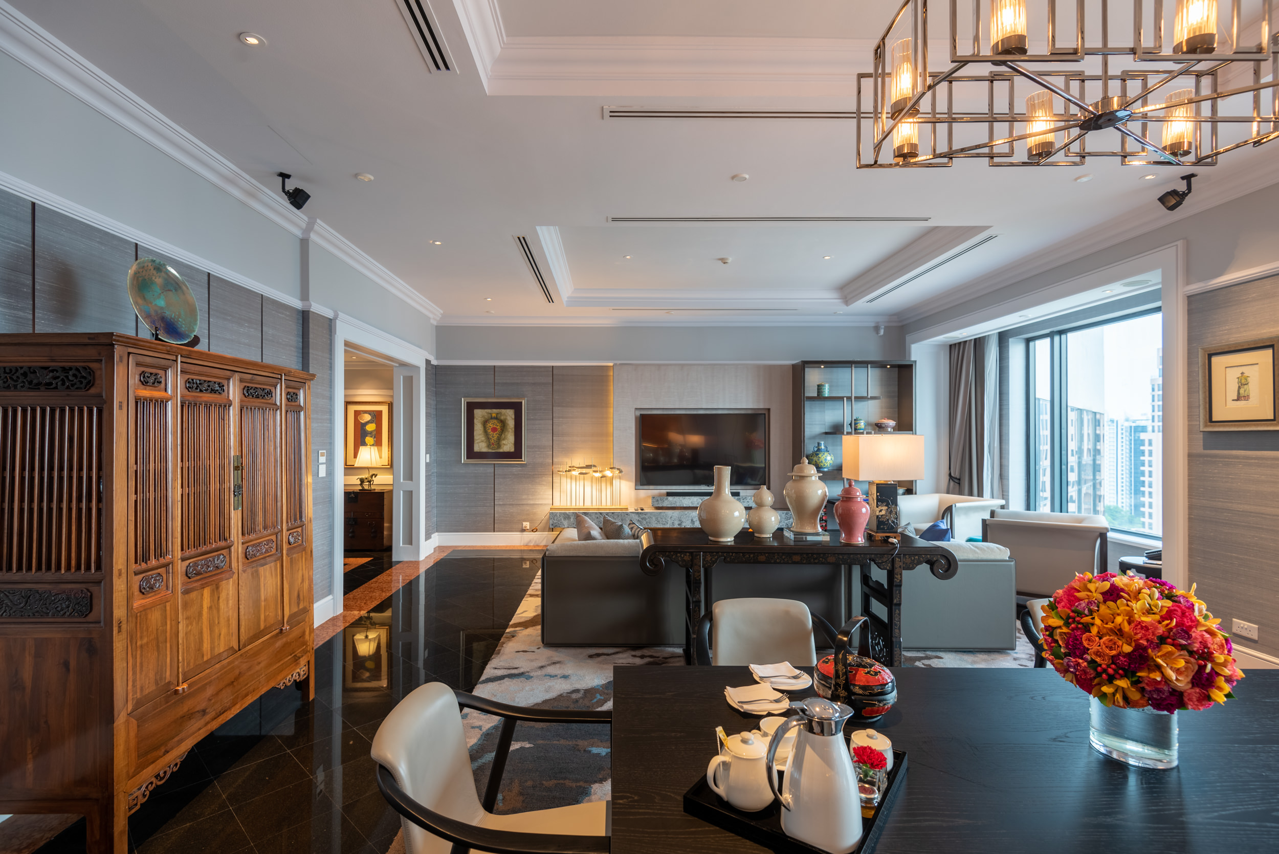Dining Room and Living Room  Ambassador One-Bedroom Suite - Four Seasons Hotel Singapore