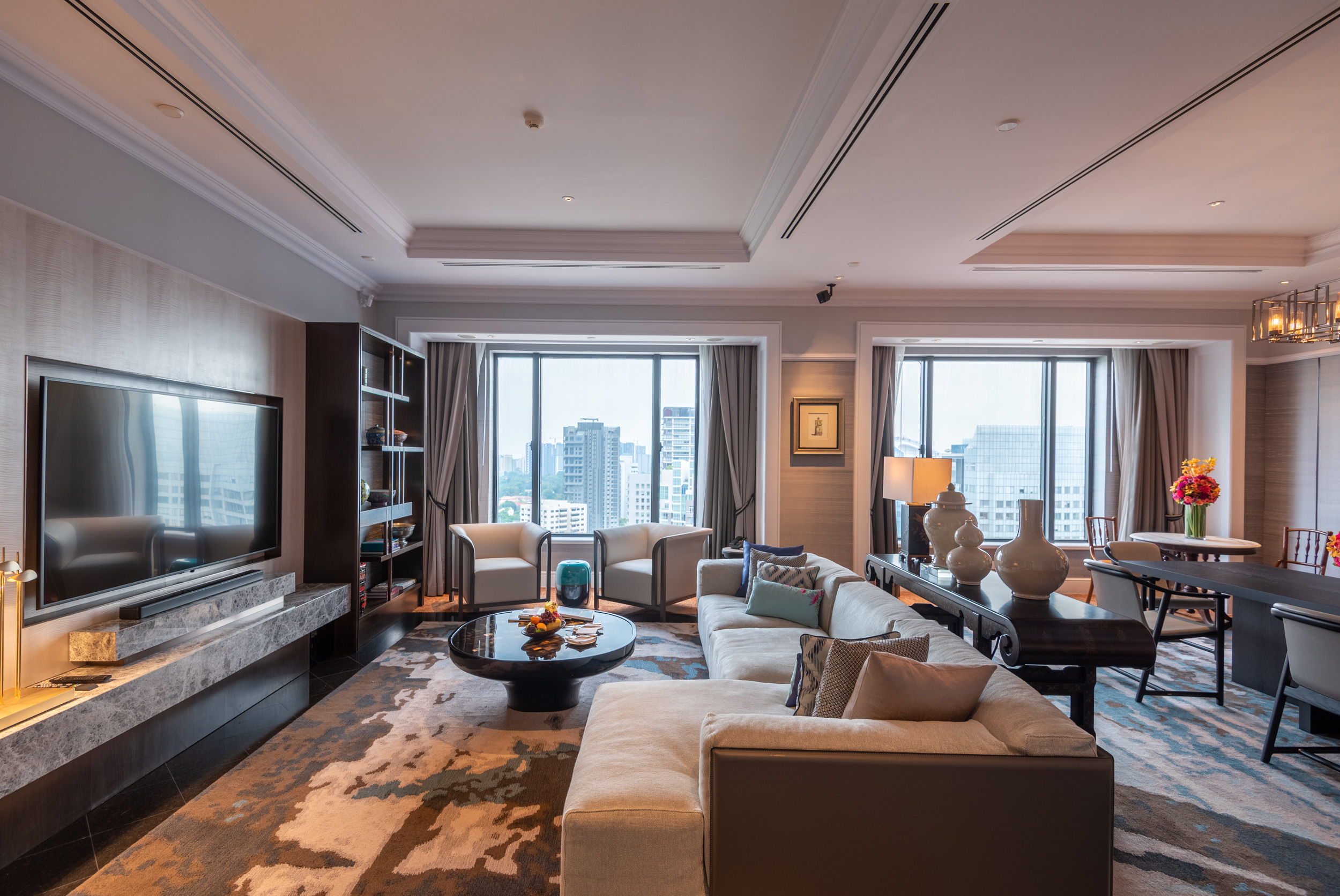 Living Area  Ambassador One-Bedroom Suite - Four Seasons Hotel Singapore