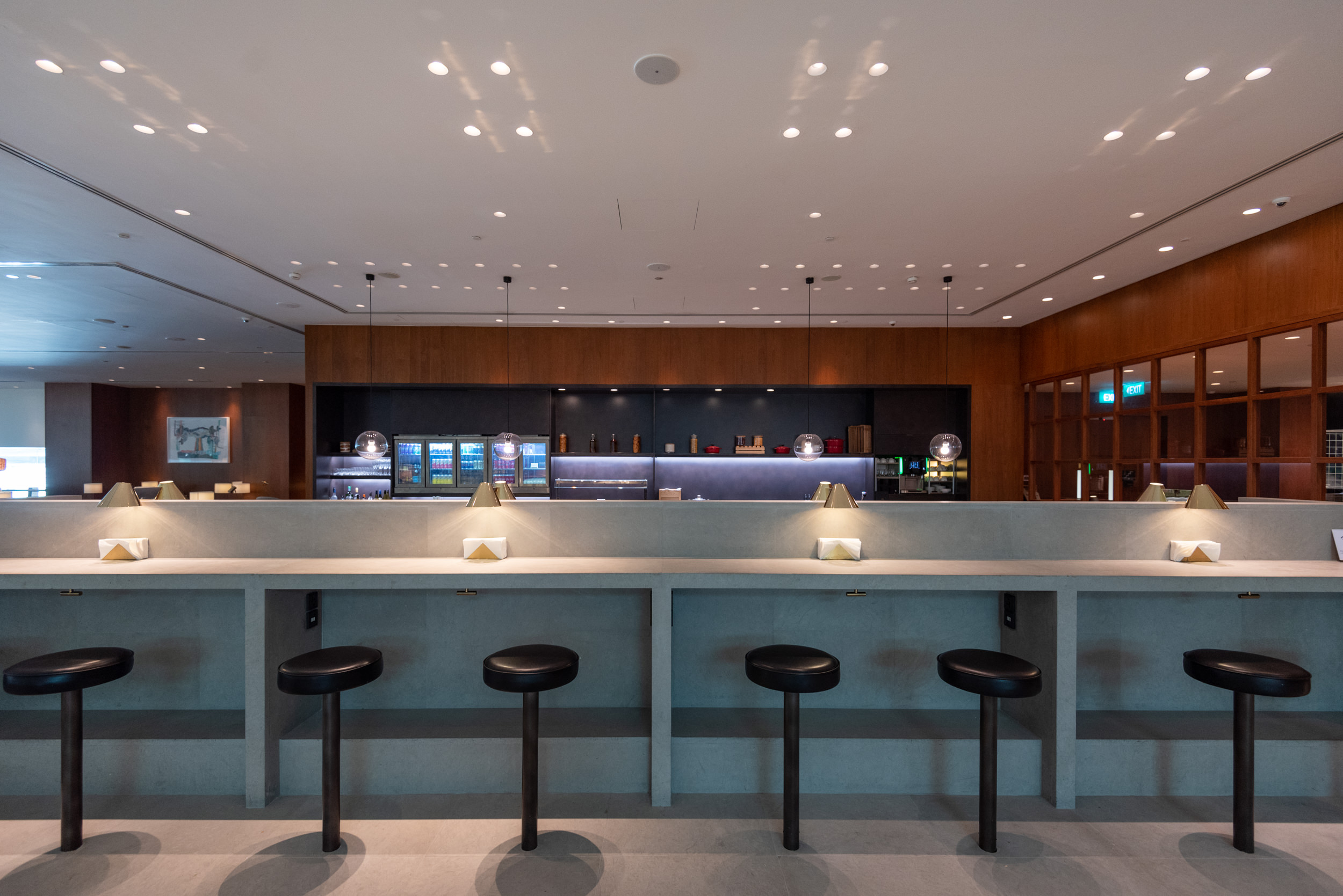 Seating Area with Bar Stools  Cathay Pacific Lounge (Terminal 4) - Singapore Changi Airport (SIN)
