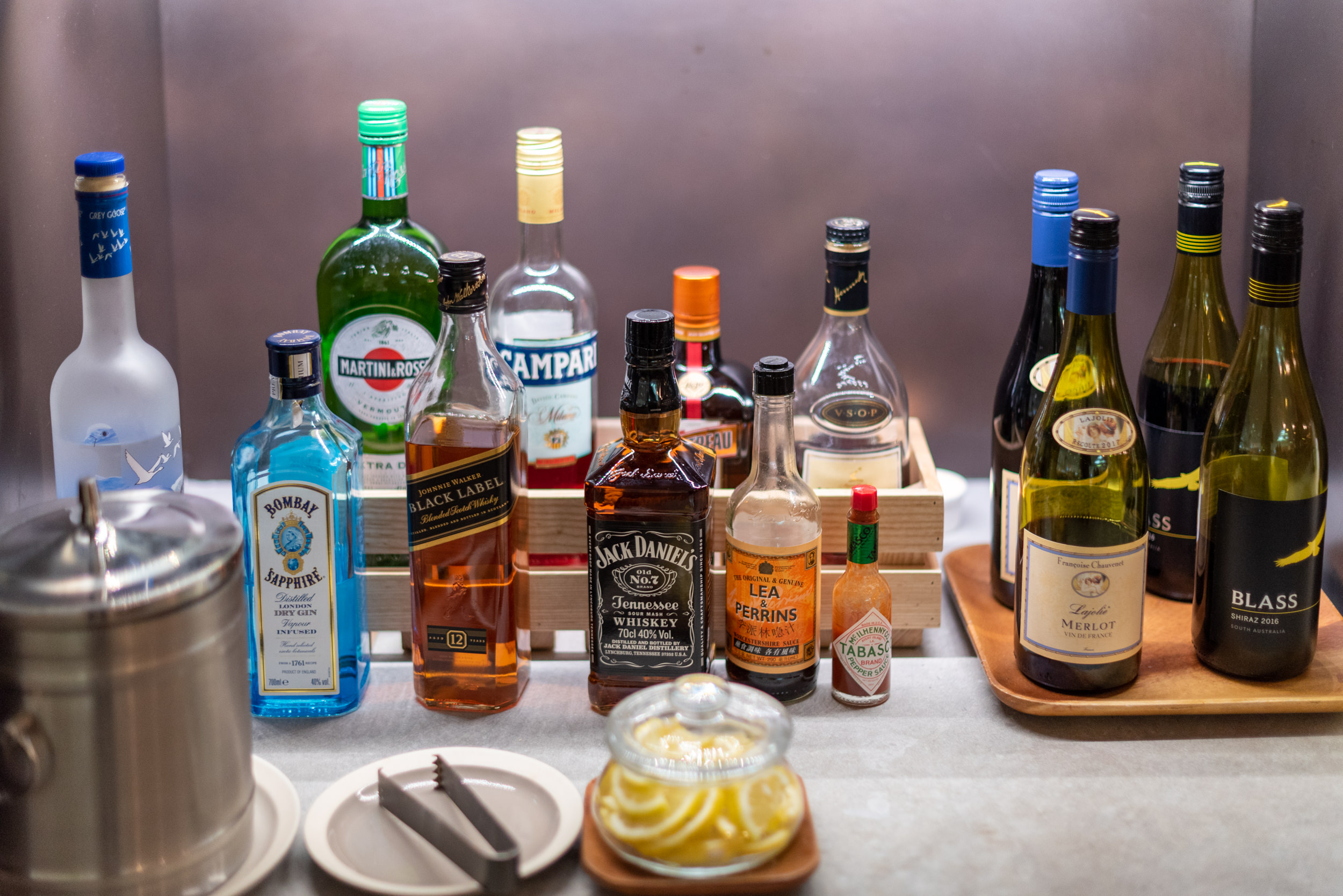Alcohol Selection  Cathay Pacific Lounge (Terminal 4) - Singapore Changi Airport (SIN)
