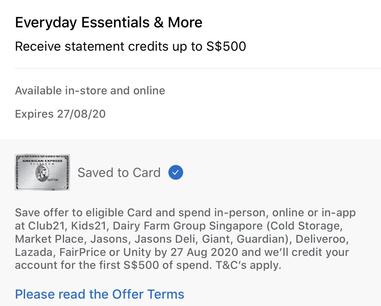 American Express Offering S$10 Statement Credit for Everyday