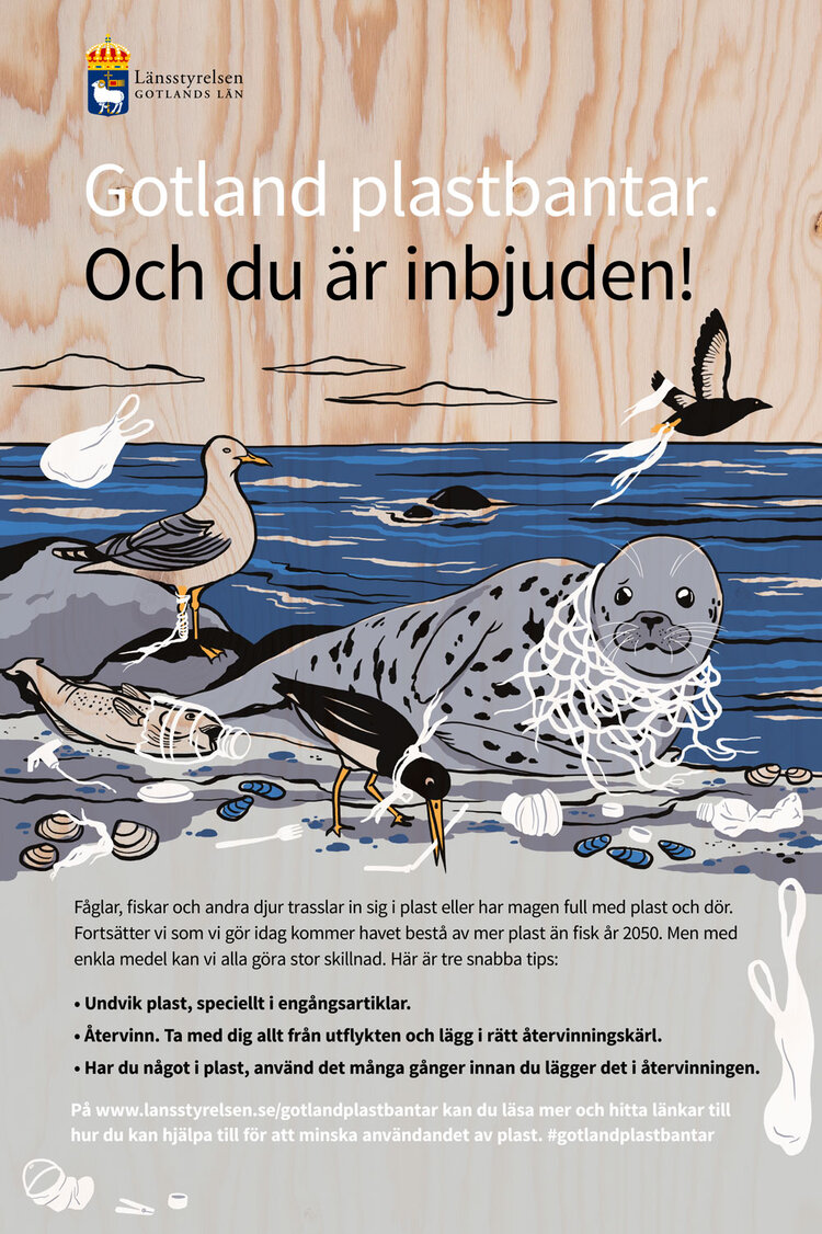 Illustration for  Länsstyrelsen Gotland  and their campaign to reduce plastics. Illustration on plywood boards with hole cut outs för kids to put their heads in. Campaign showcased on Gotland during 2019.