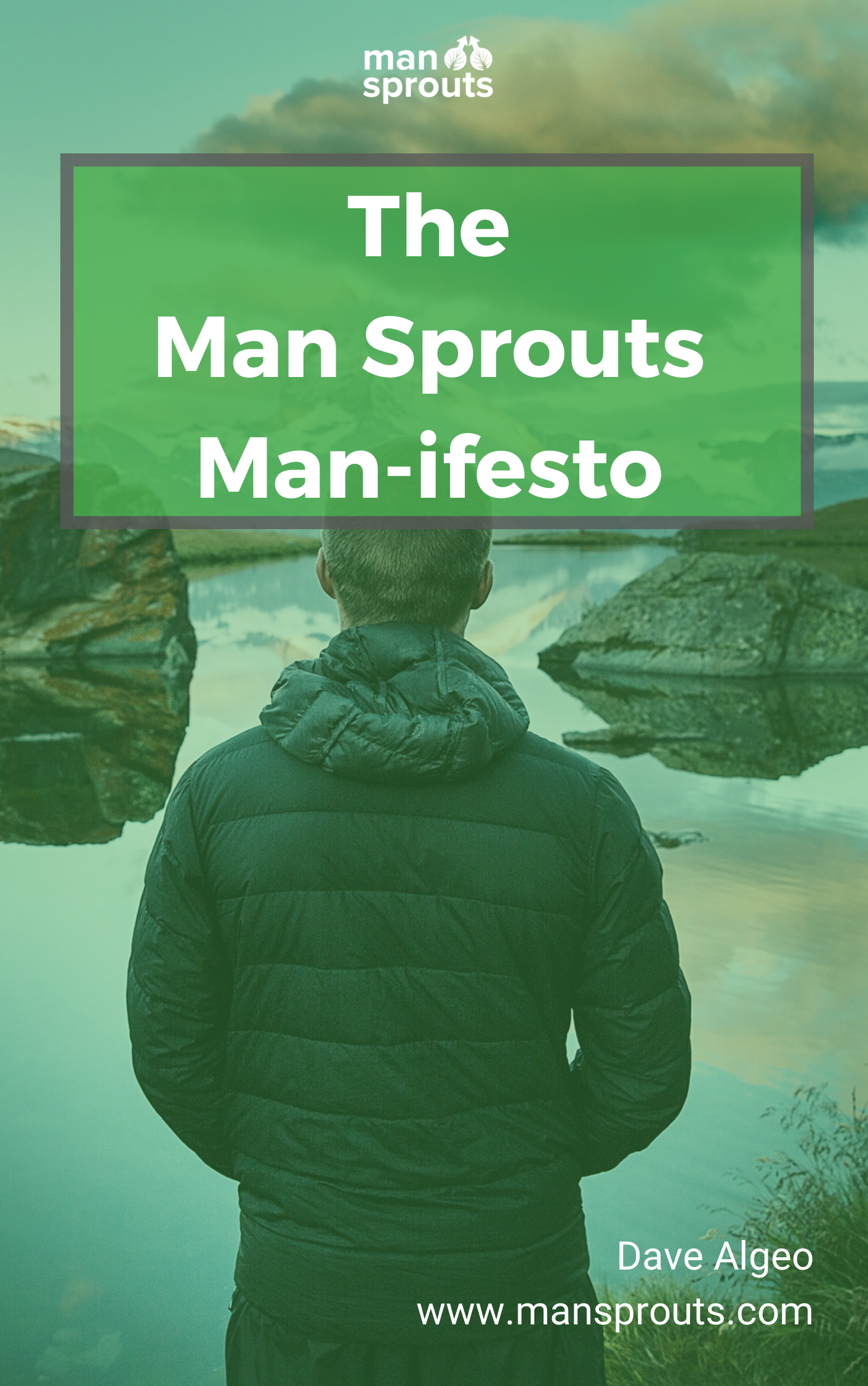 The Man Sprouts Man-ifesto book laying out Dave's men's mental health agenda
