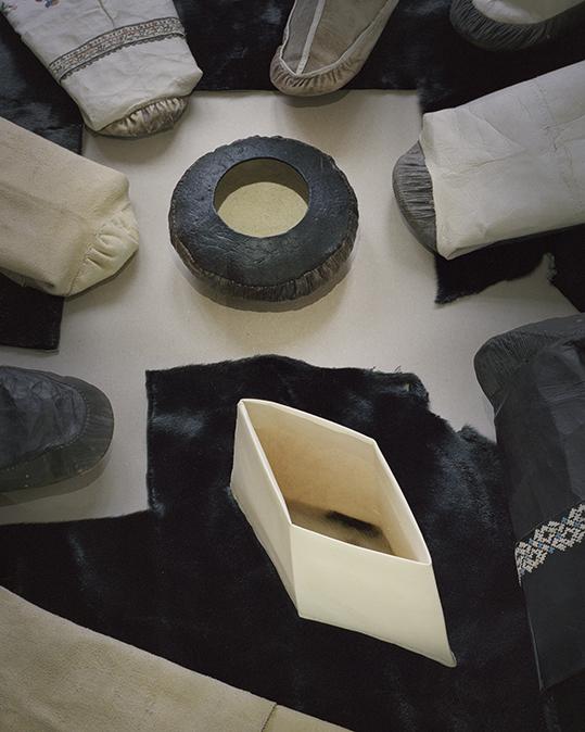 """Sewing knowledge  — Simón Ballen Botero, Sara Marie Lyberth, Johanne Markussen & Hanseenaaraq Petersen """"Nukannguaq"""" Nuuk 2017 Photo: ©Émile Barret / Hors Pistes"""