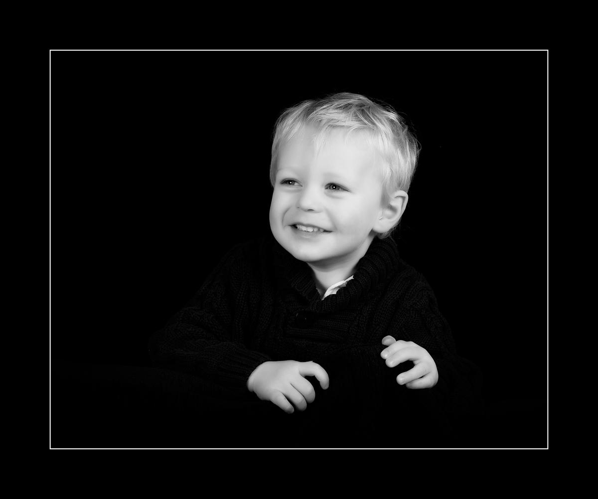 Black and white kid portrait