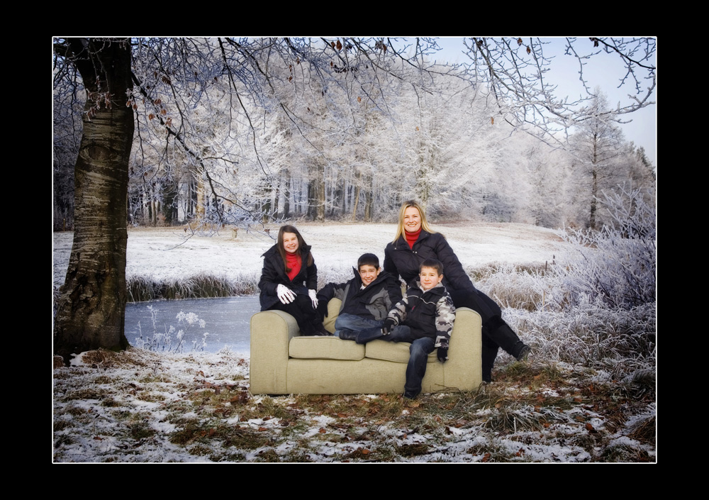 family snow portrait