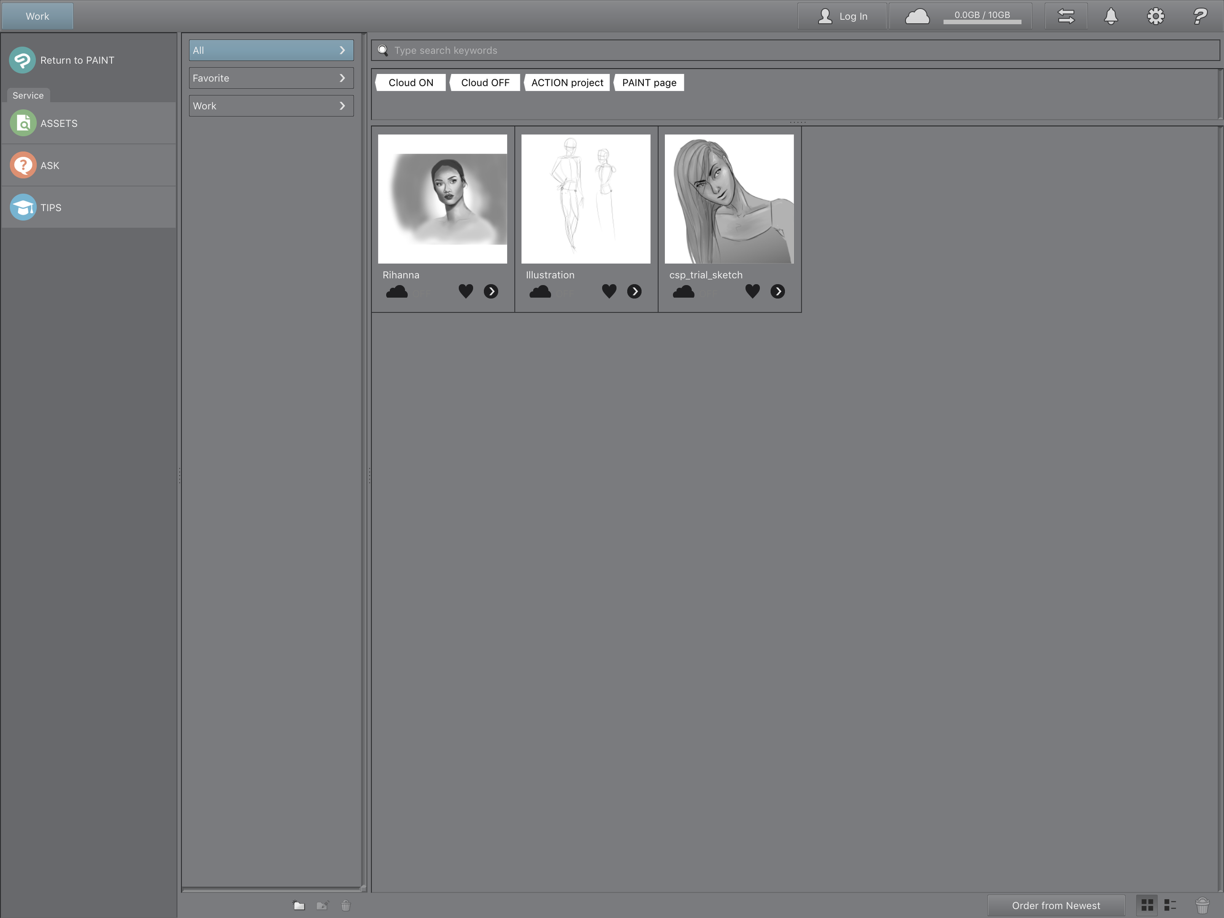 Accessing the Clip Studio Assets.