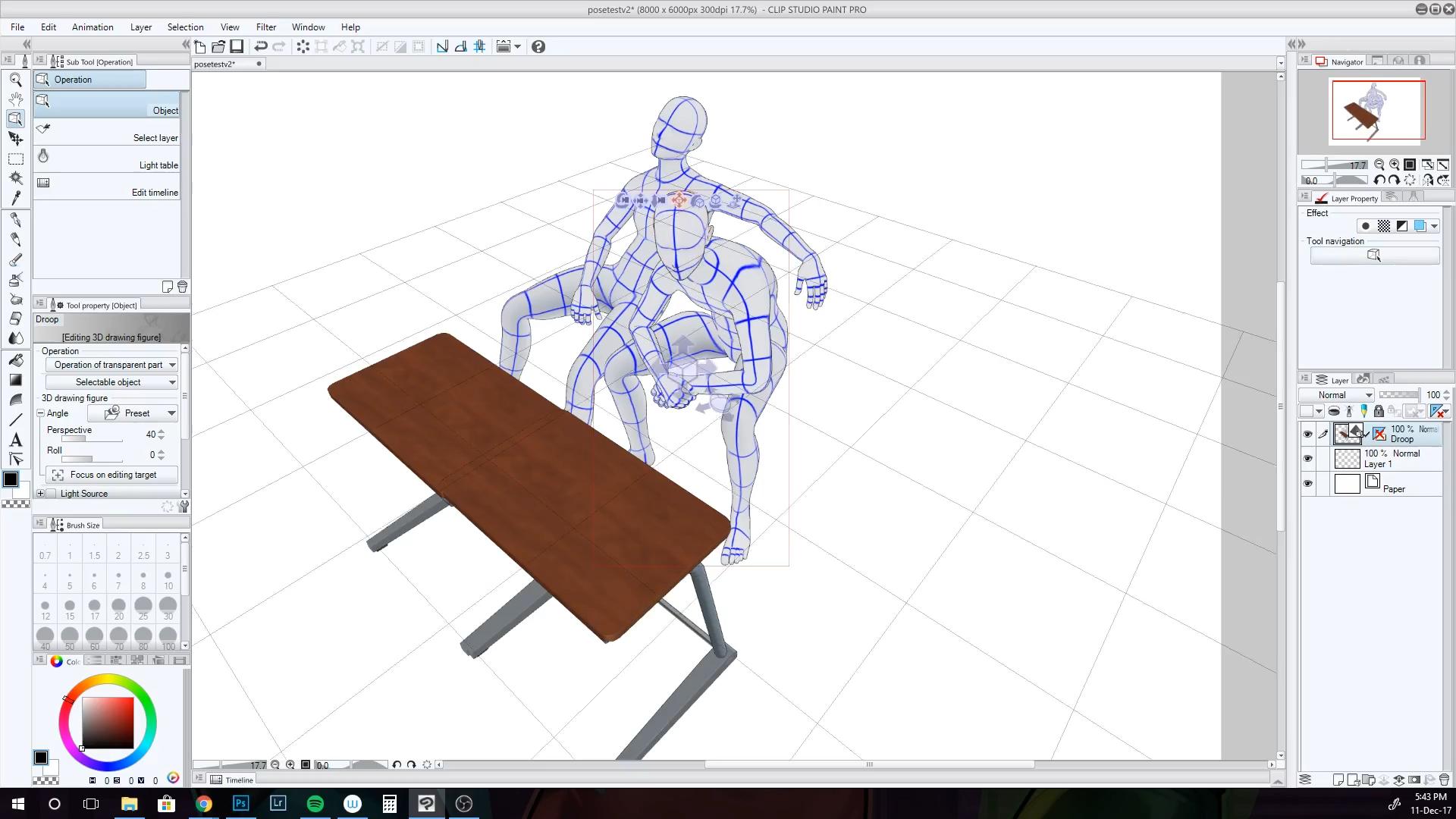 Using Clip Studio Paint's 3D Posing tools.