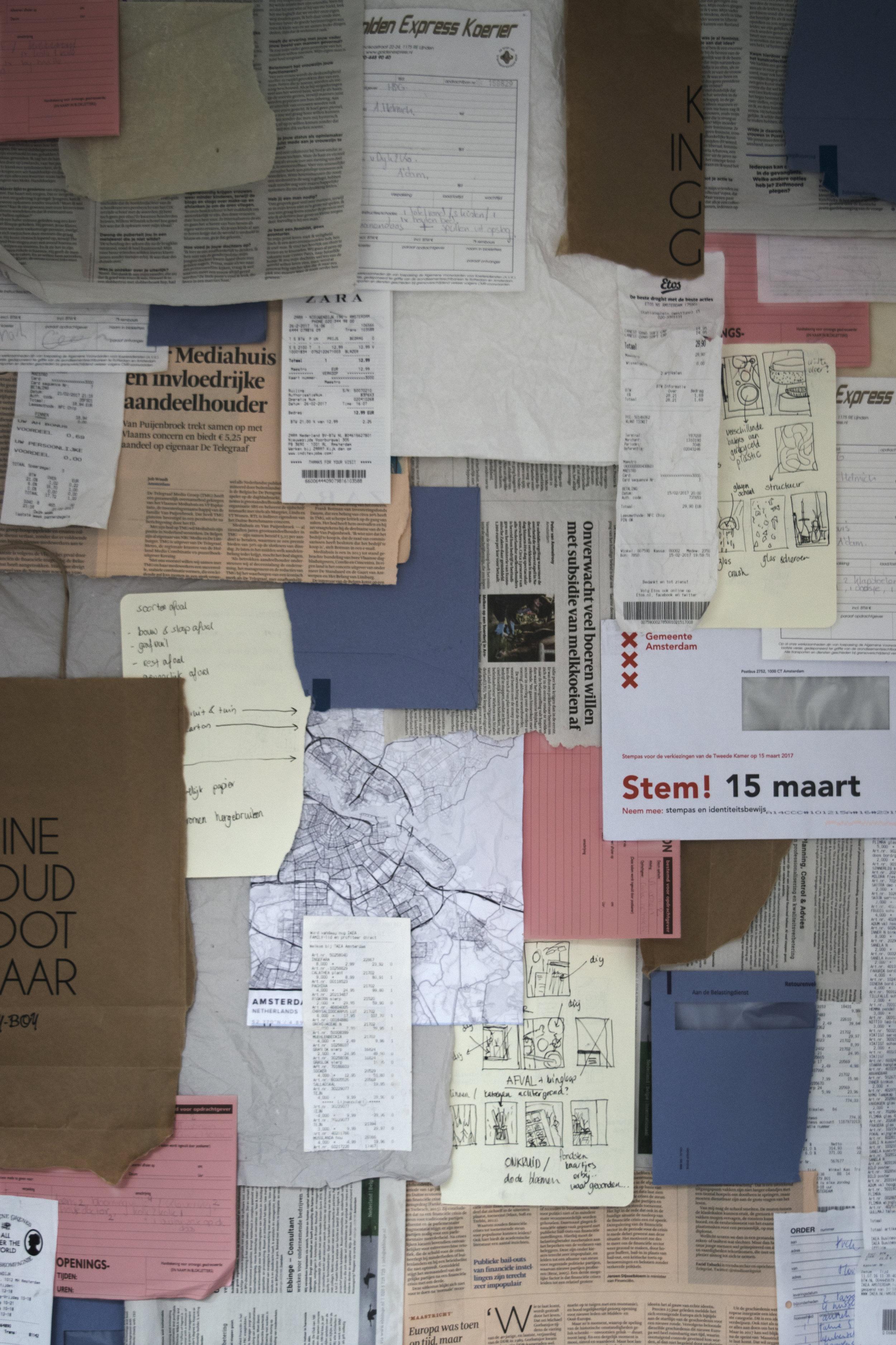 Papier (afval combinatie van de Spuistraat, Herengracht, Singel Amsterdam, StyleCookie)