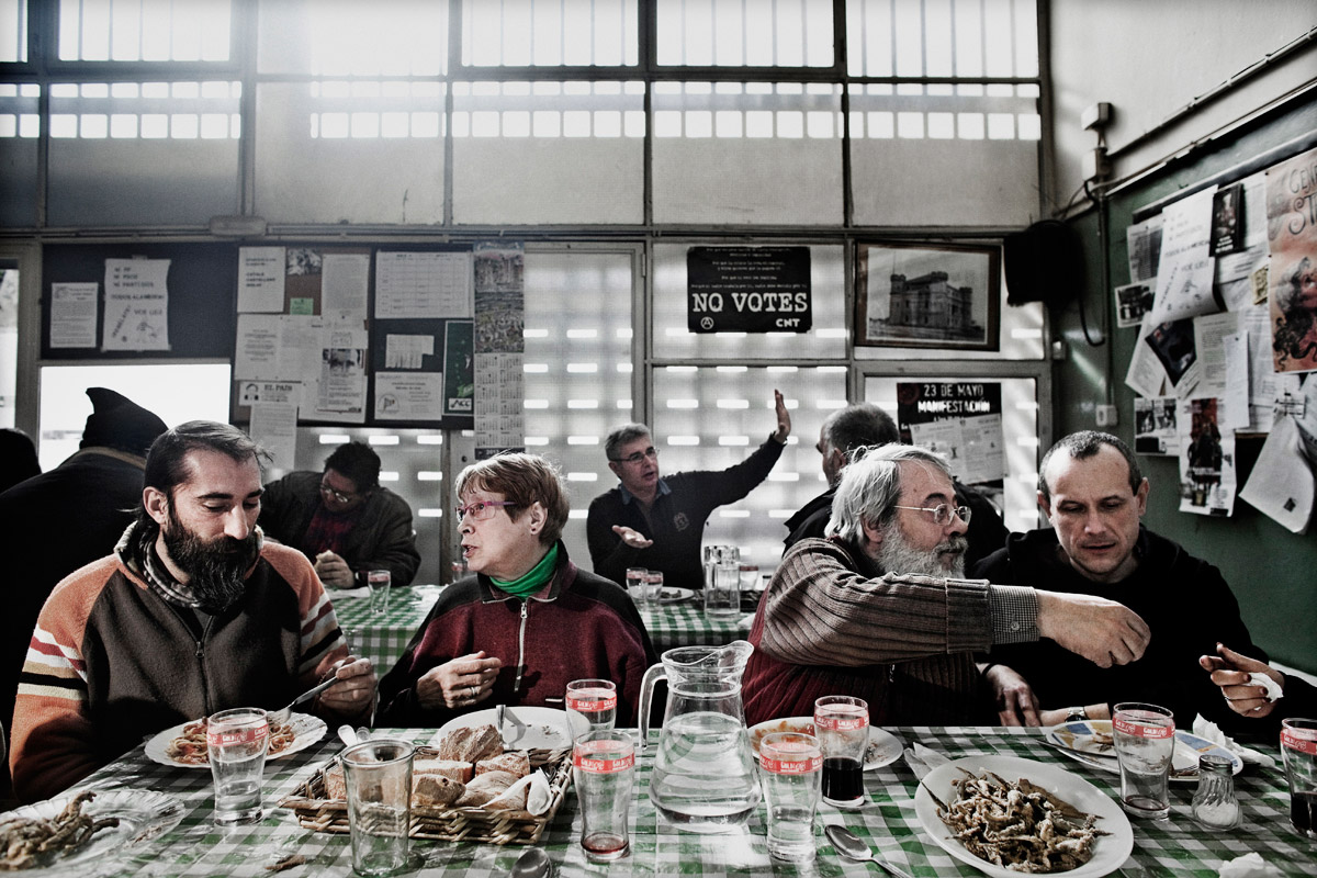 Gregal soup kitchen, serving lunch and dinner daily to the unemployed and evicted, using contributions from other neighbours of Besos, Barcelona