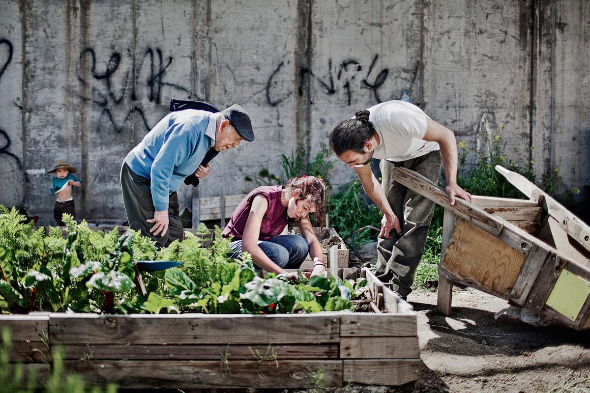 Aida plants lettuce in the urban vegetable garden of the Retiro neighbourhood, Madrid