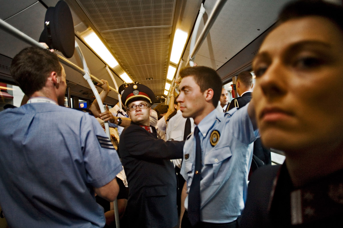 Members of various European gay police associations coming back from the conference opening