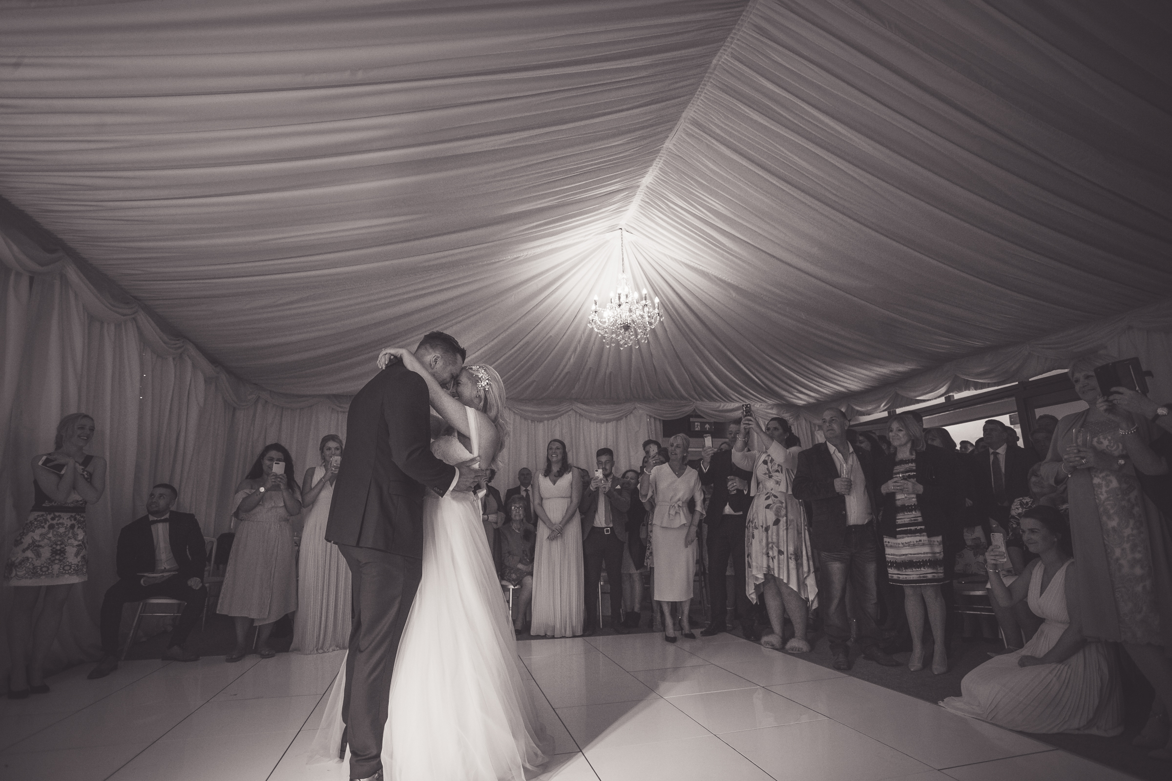 Kat and Colby's first dance, taken at Manor Hill House near Bromsgrove, the photograph is in black and white.