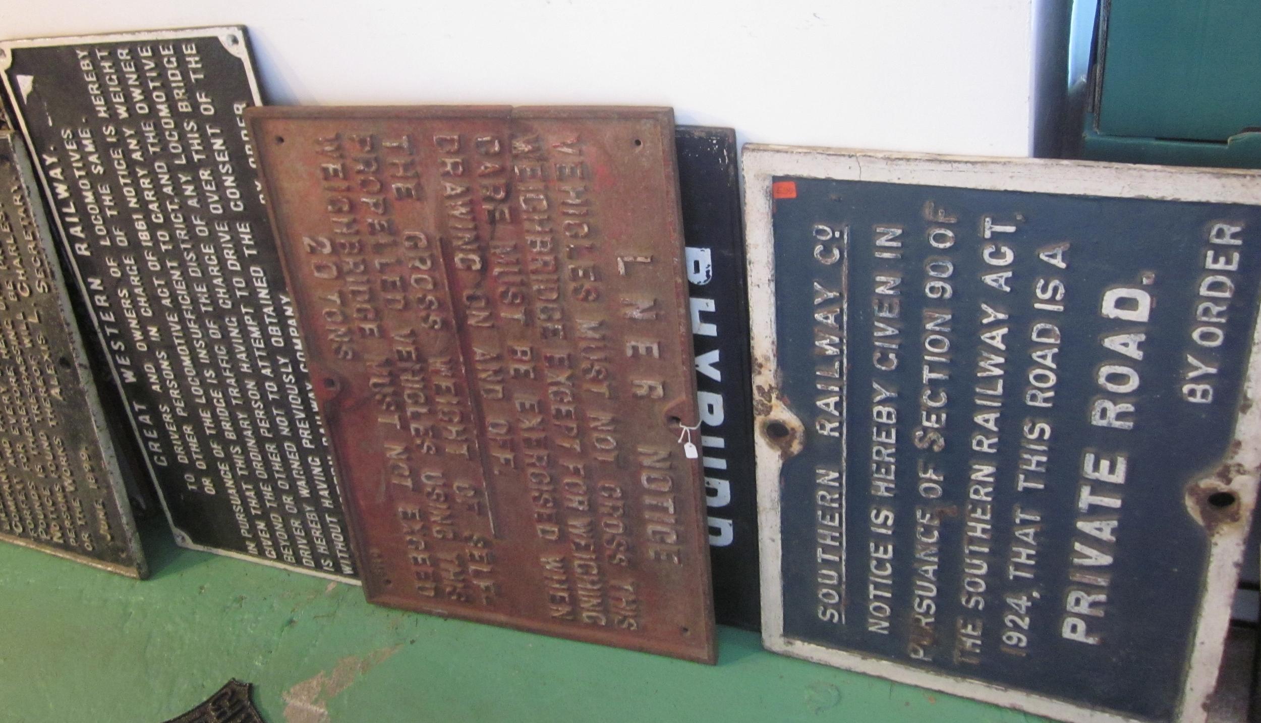Cast iron railway notices