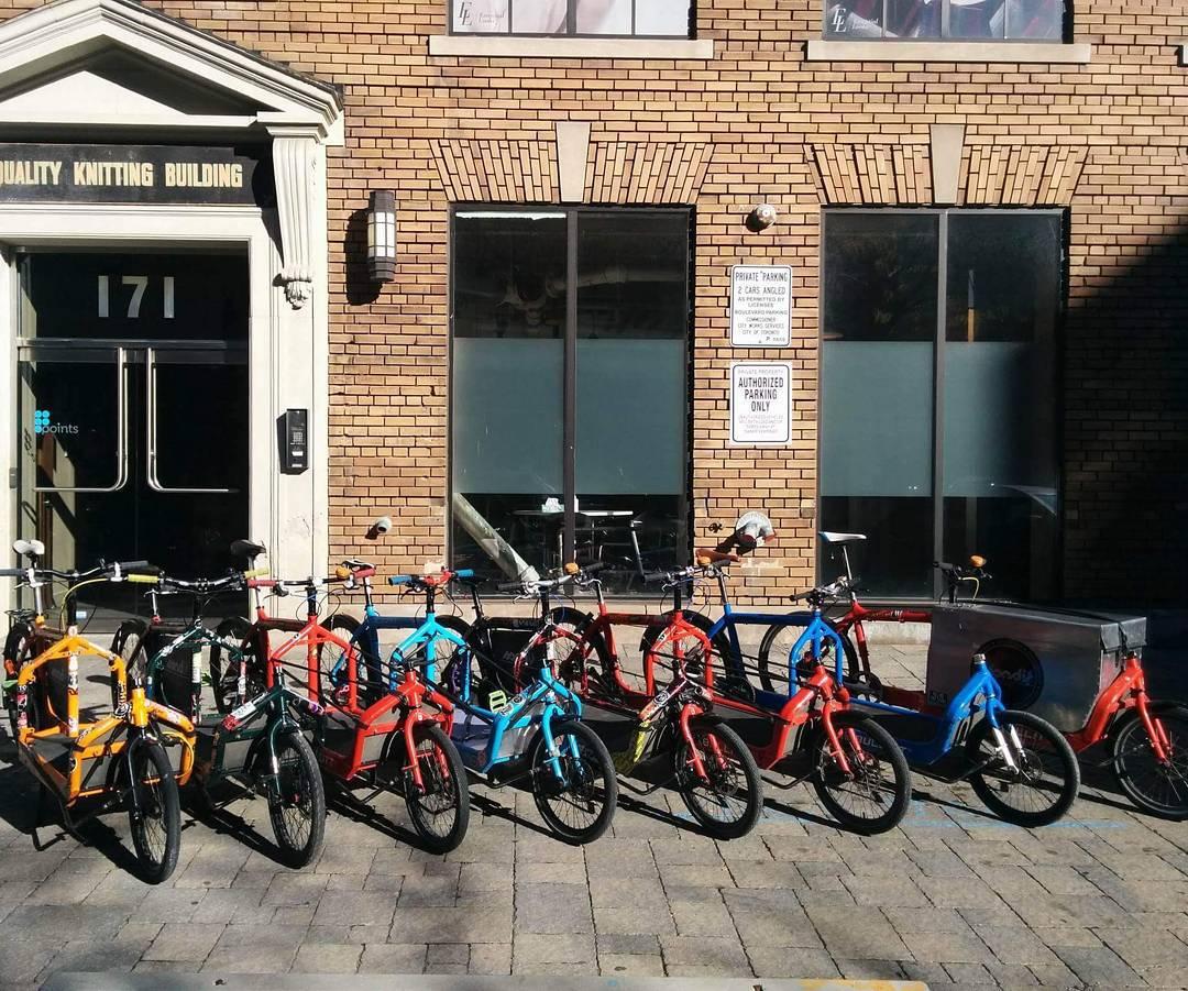 Our fleet of Larry vs Harry Cargo Bullitt bikes