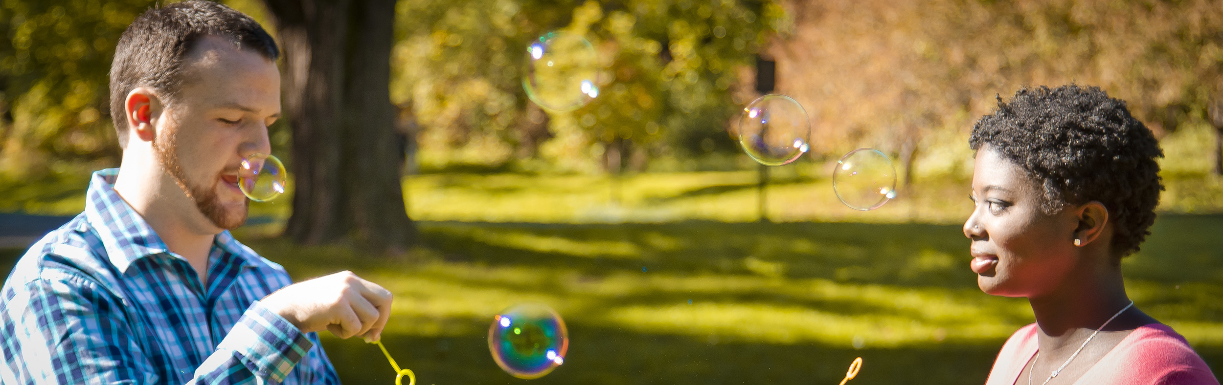 Matt and Sarah are playing with Bubbles and having fun with our scene.