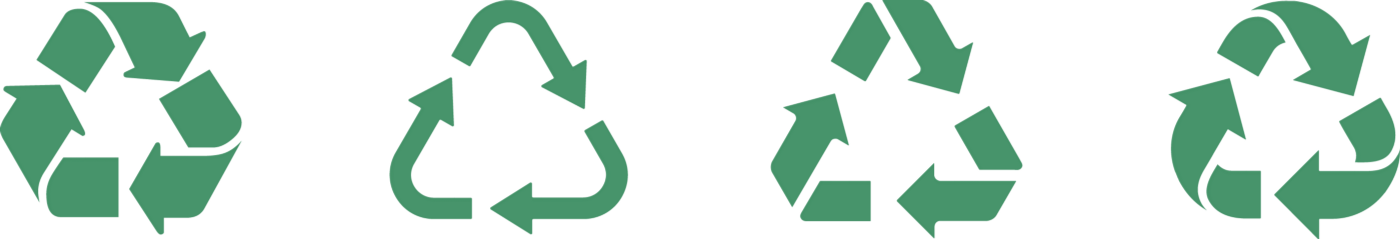 These recycling icons demonstrate that the same concept can be understood even with differences in style.¹